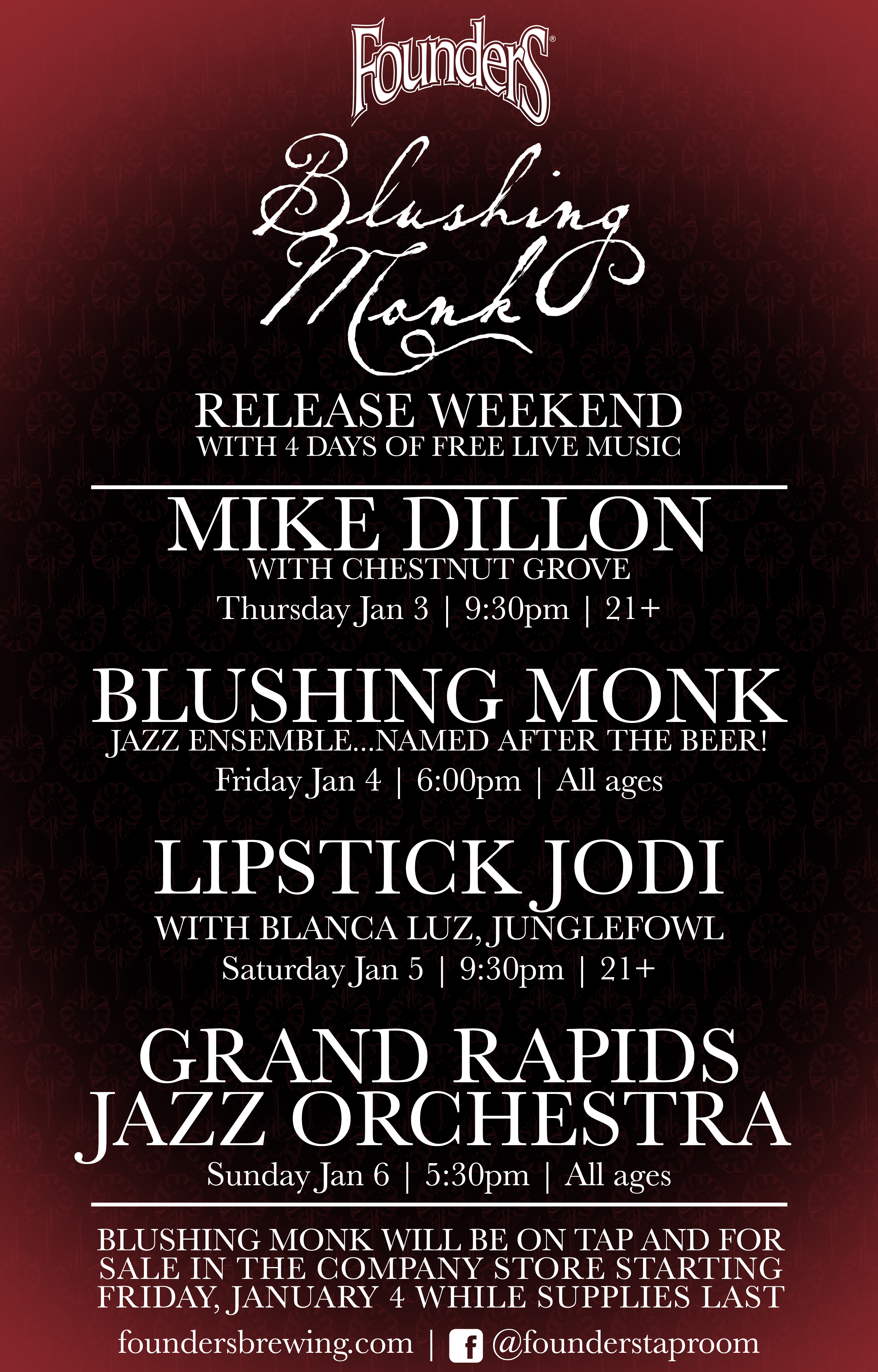 Founders Blushing Monk Release with live music event poster