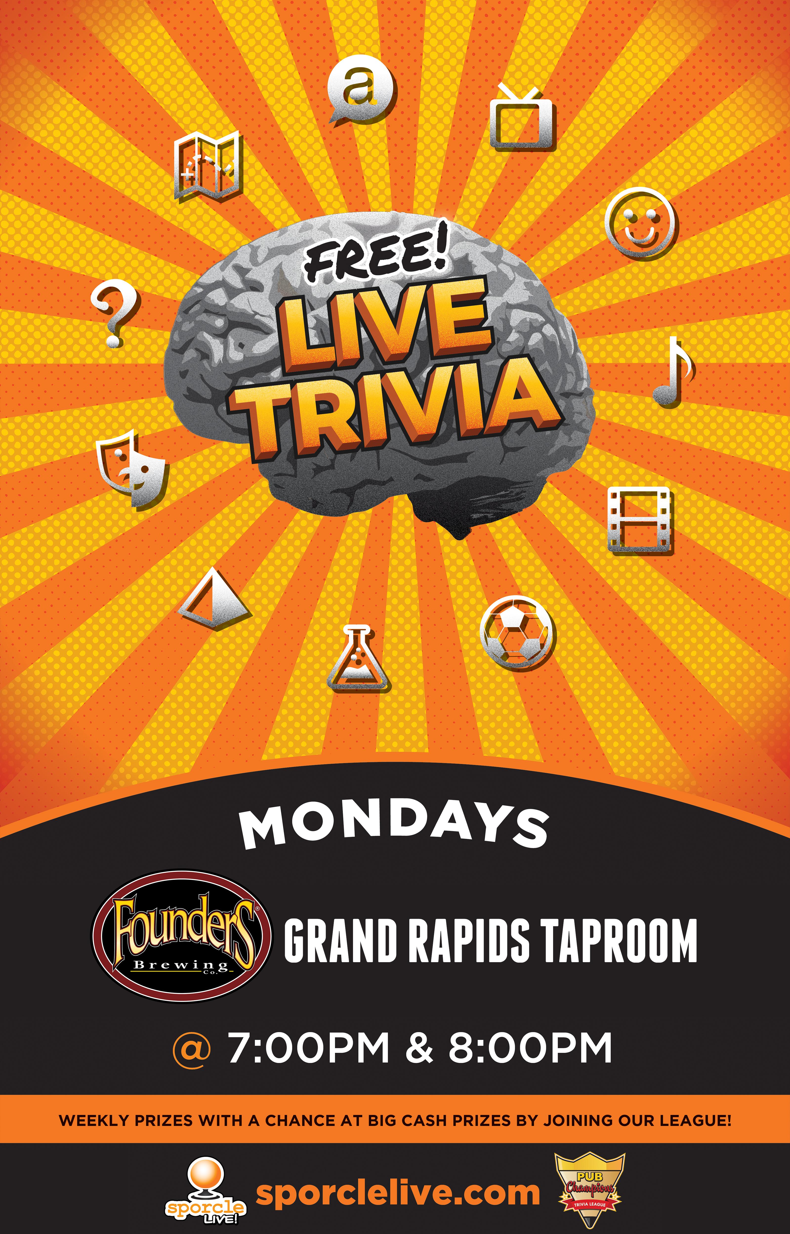 Free Live Trivia Mondays event poster