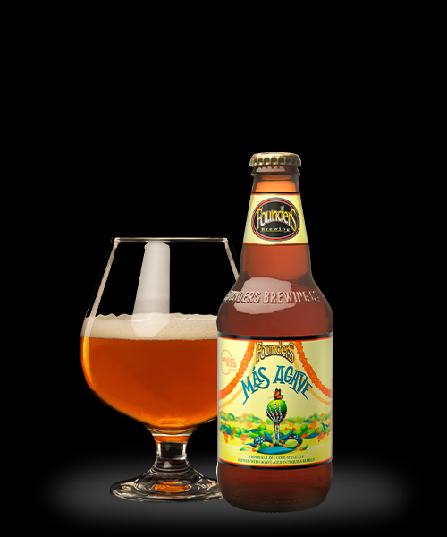 Founders Más Agave IPA in a bottle and poured in a beer glass