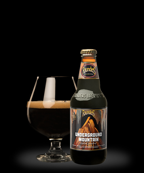 Founders Brewing Co. Underground Mountain Brown in a bottle and poured in a beer glass