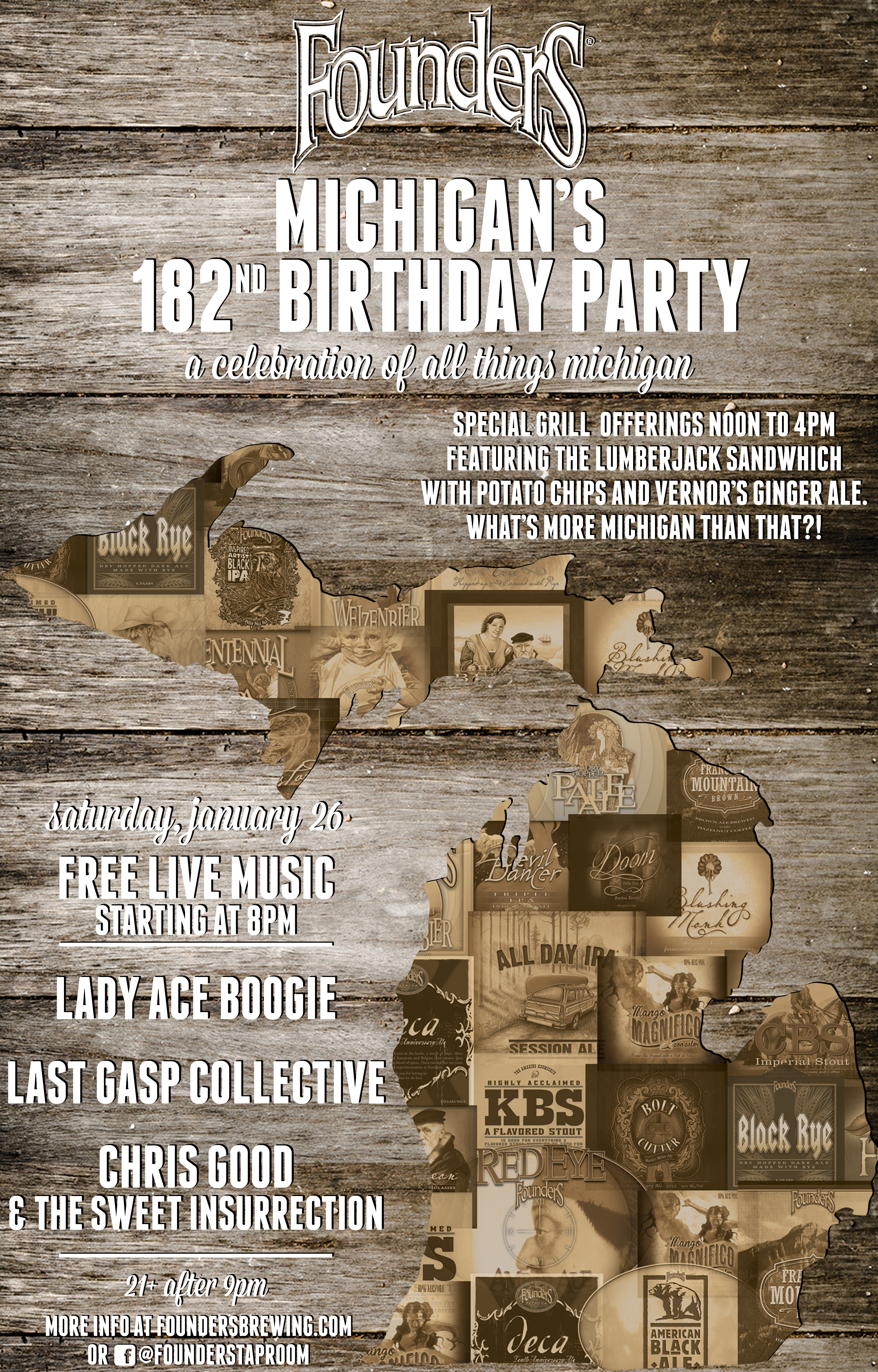 Founders Michigan's 182nd Birthday Party event poster