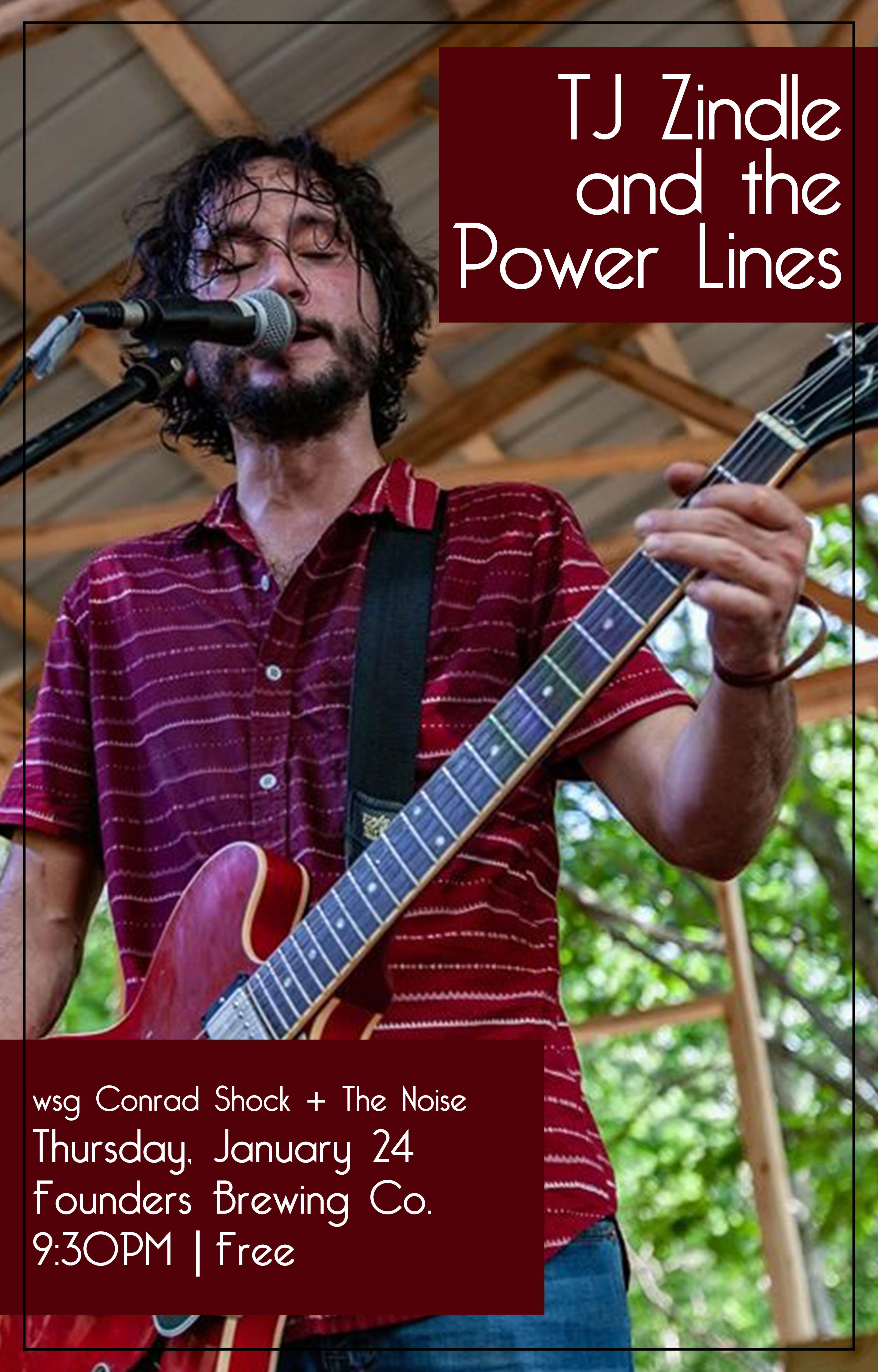 Tj Zindle and the Power Lines event poster