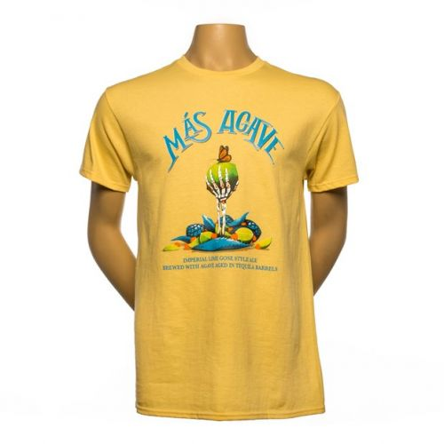 Yellow t-shirt with Founders Más Agave logo