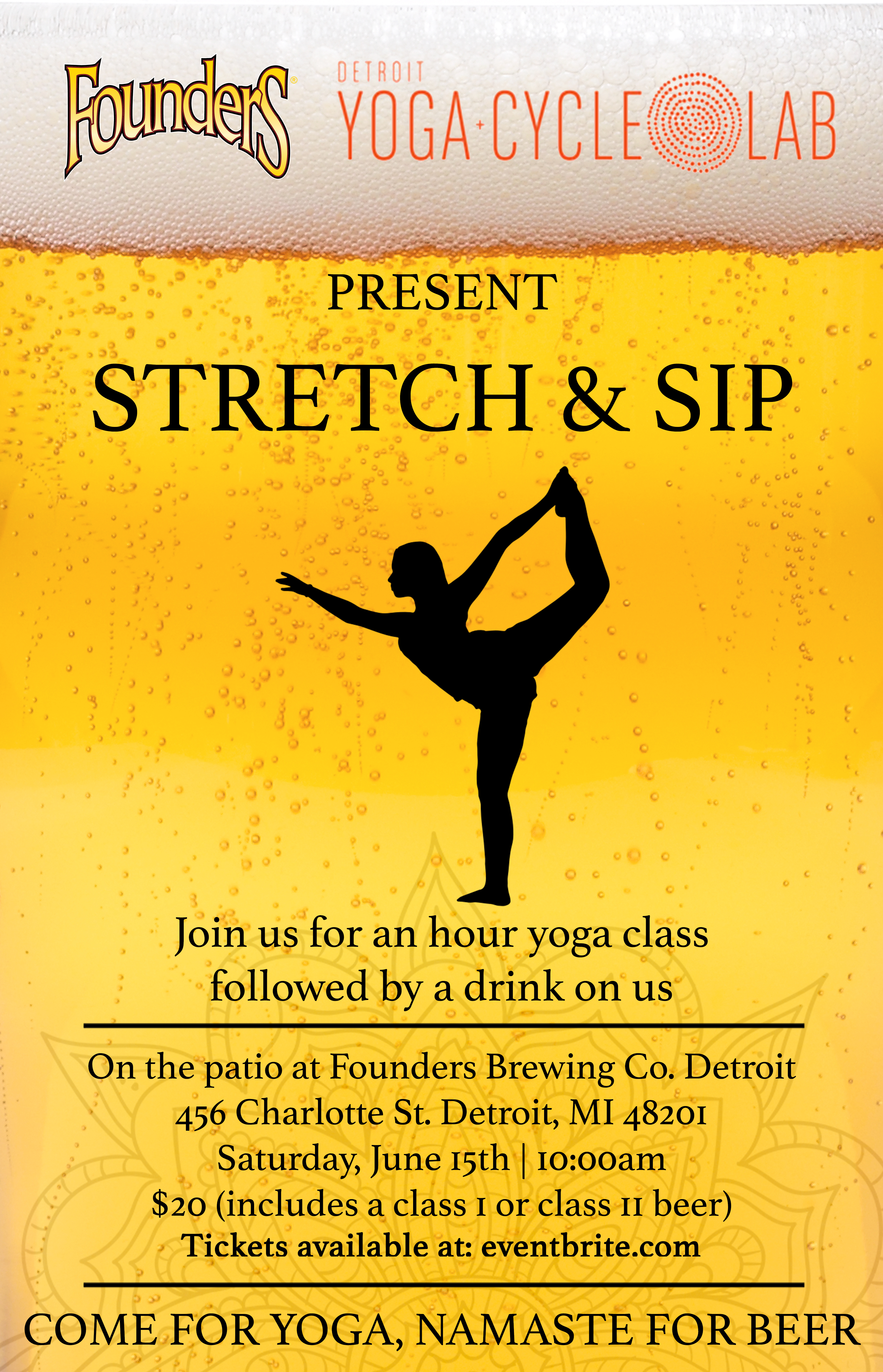 Detroit Yoga Cycle Lab Stretch & Sip event poster