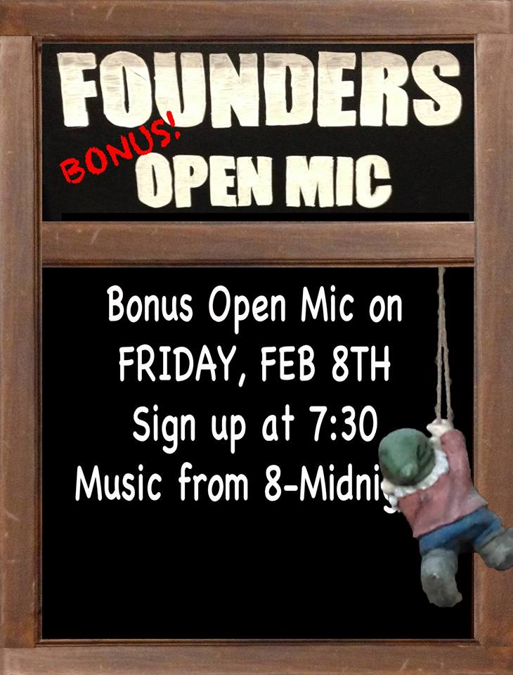 Founders Bonus Open Mic event poster