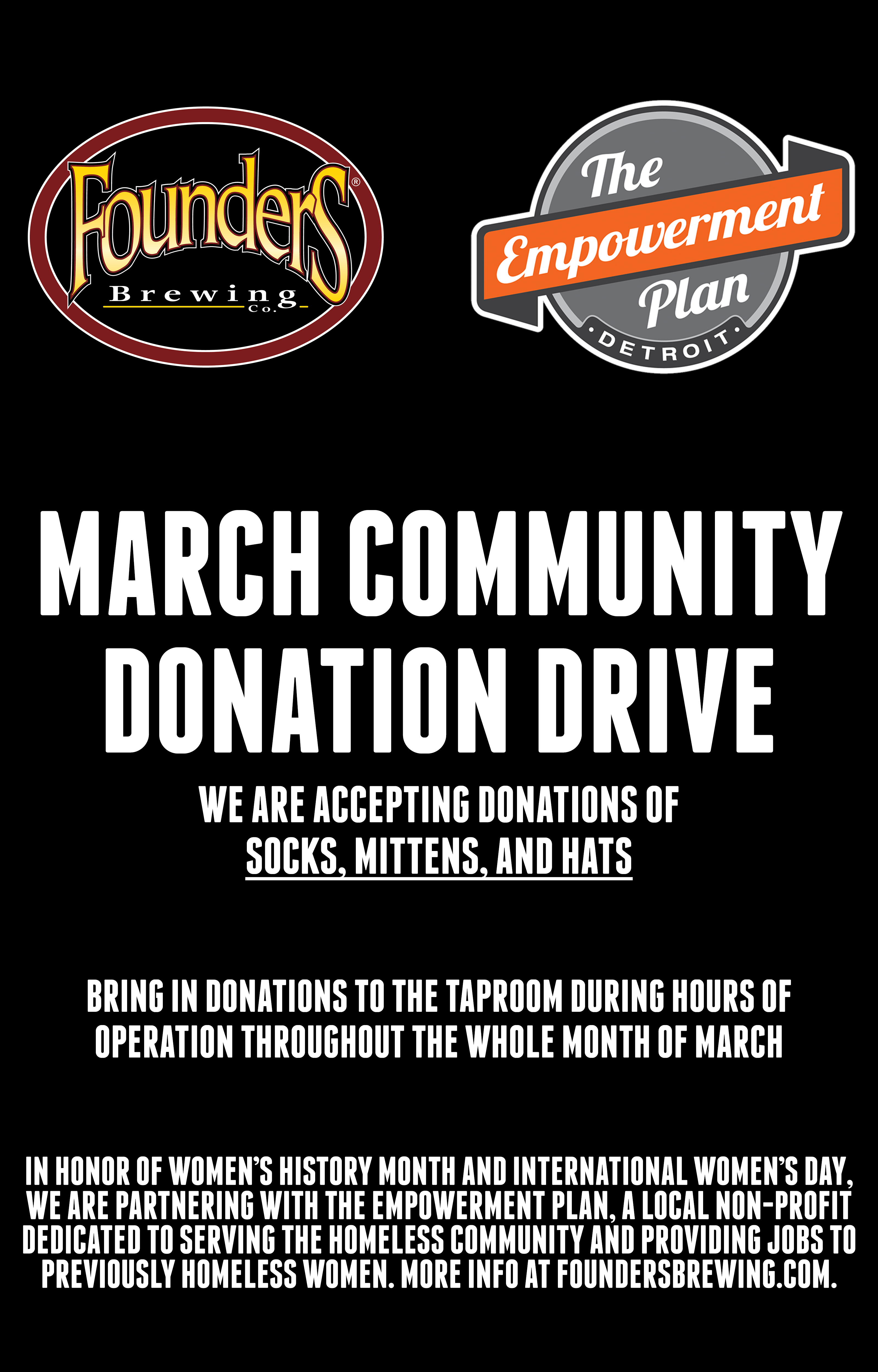 Founders March Community Donation Drive poster