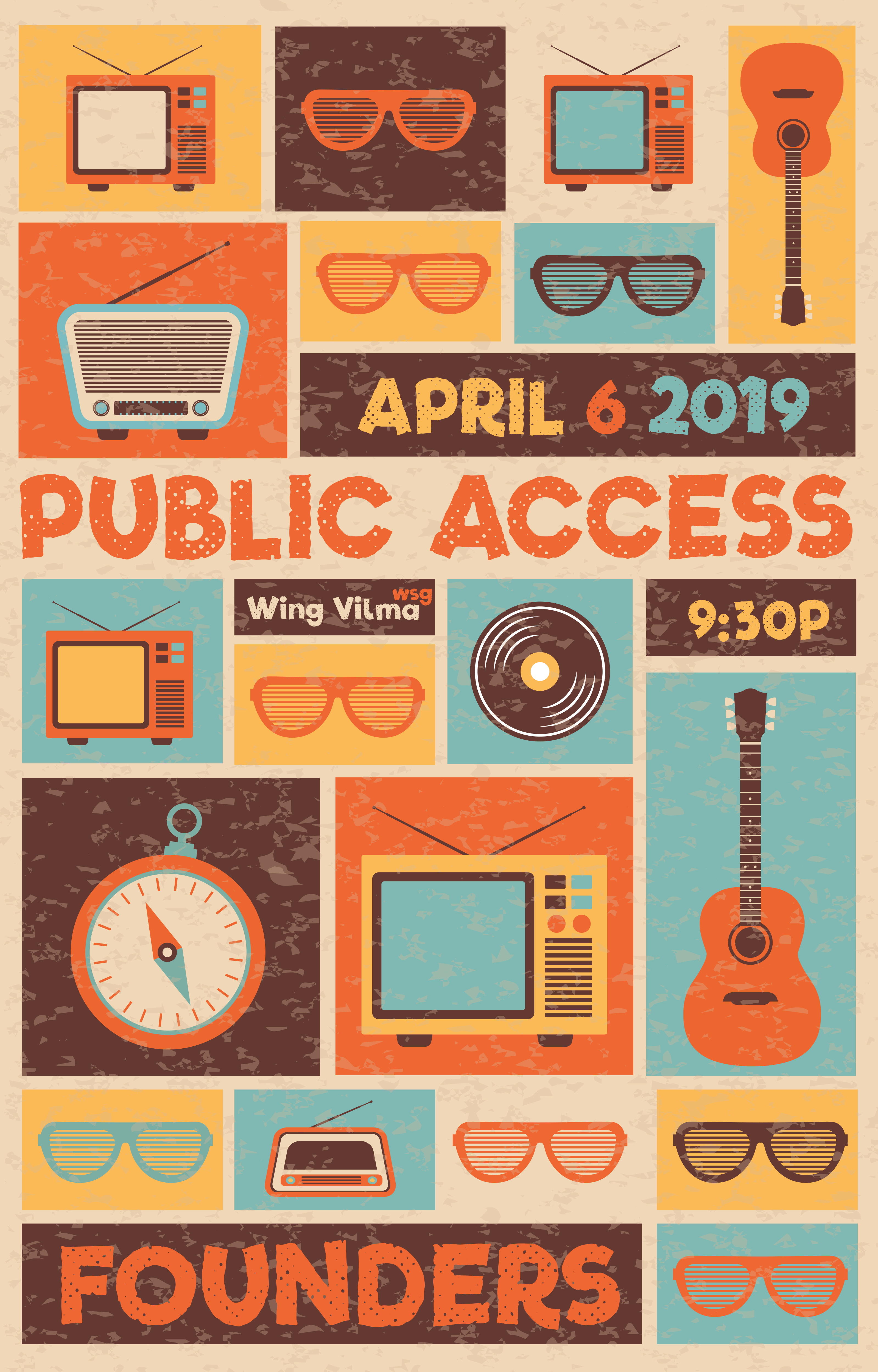 Public Access event poster at Founders