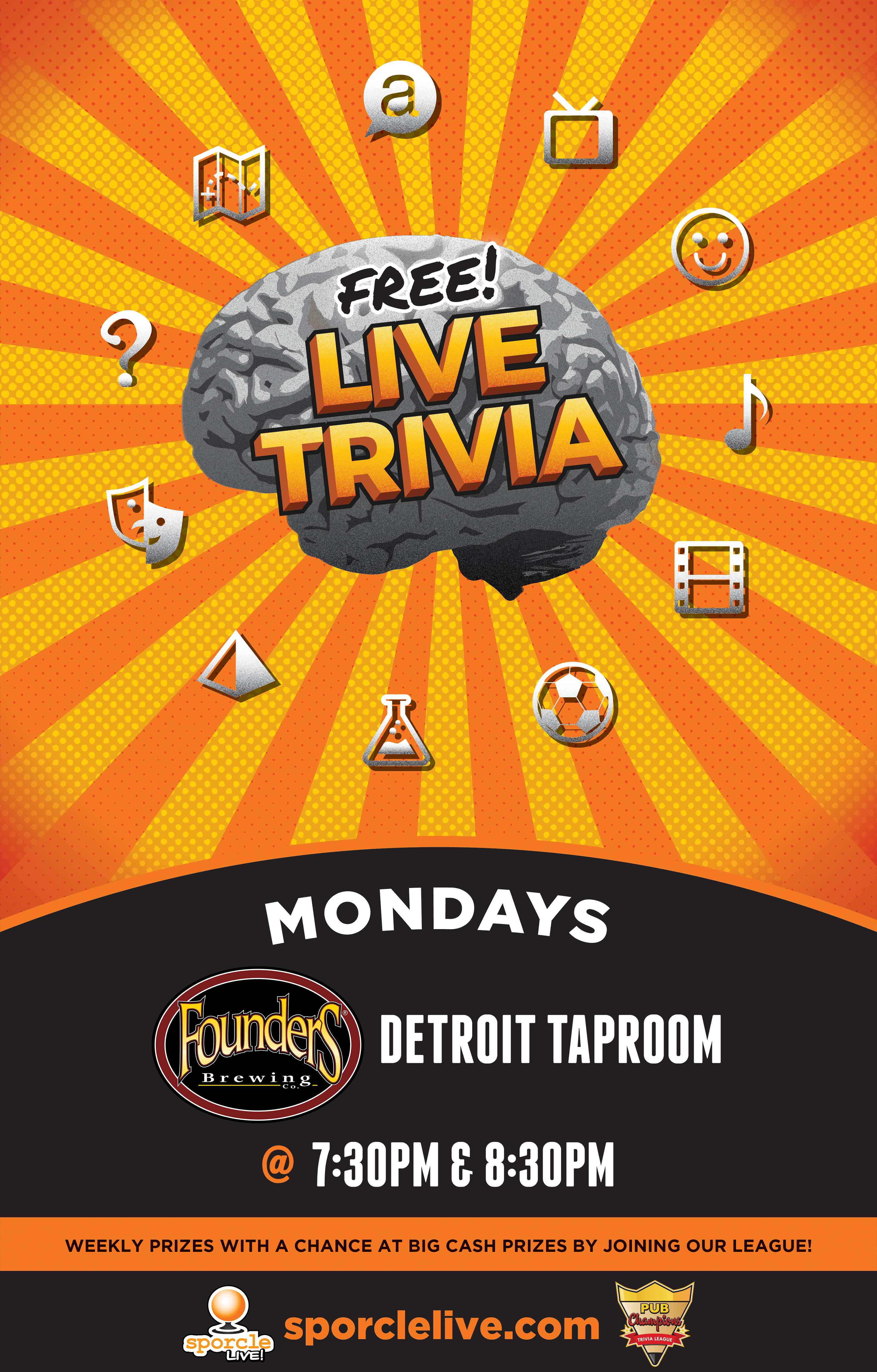 Free Live Trivia Mondays at Founders event poster
