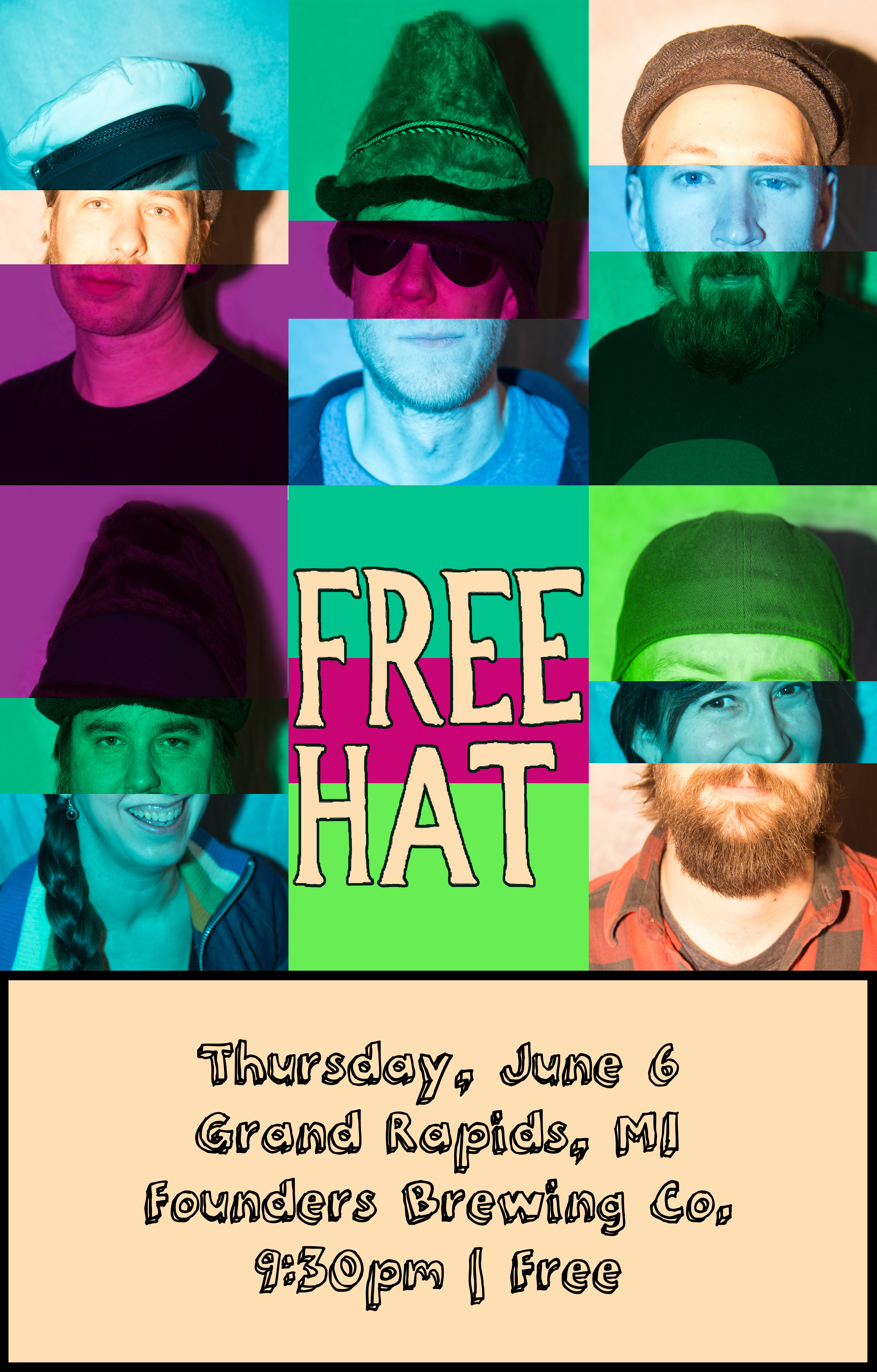 Free Hat event poster hosted by Founders Brewing Co.