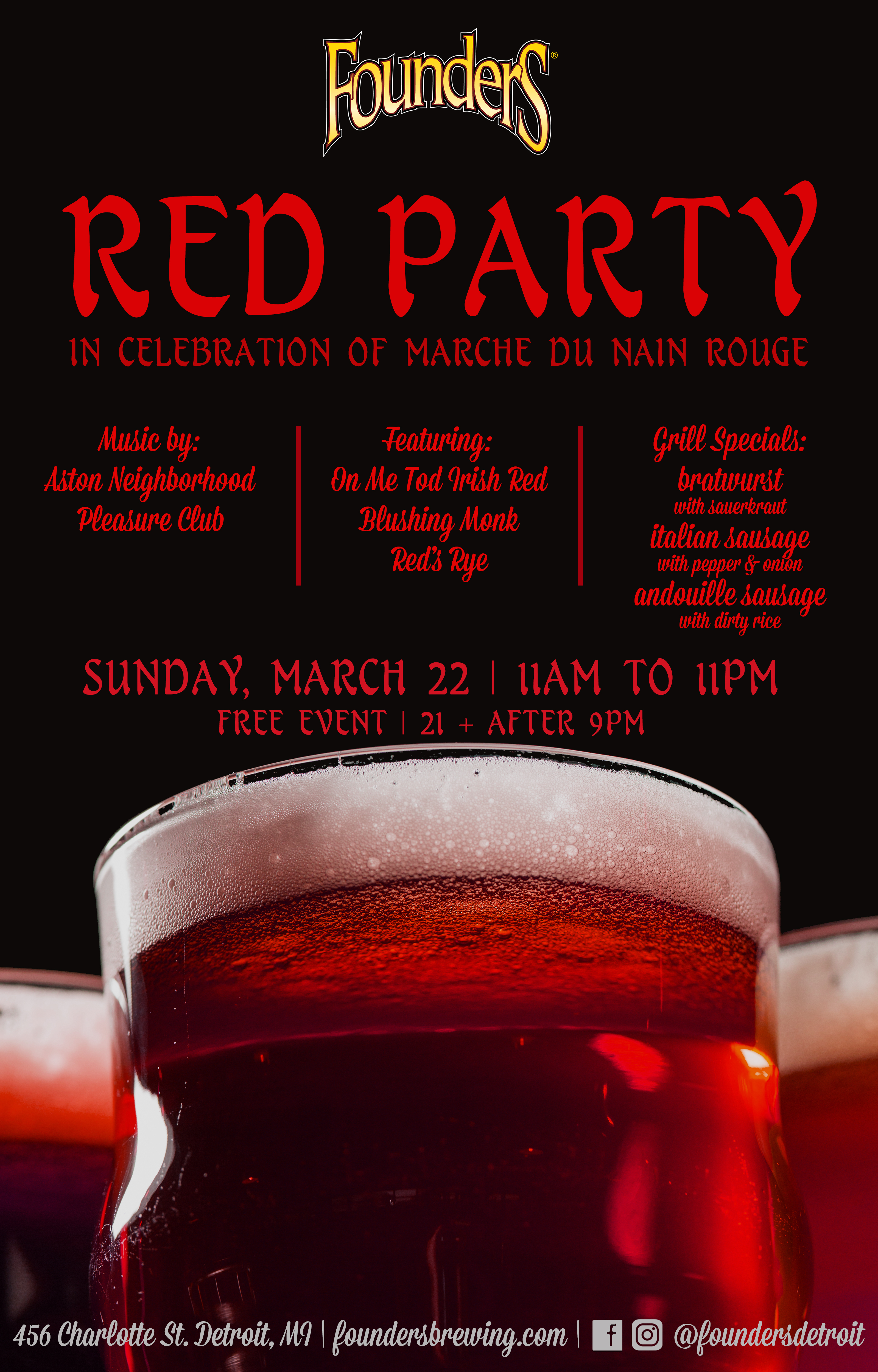 Red Party event poster hosted by Founders Brewing Co. in Detroit