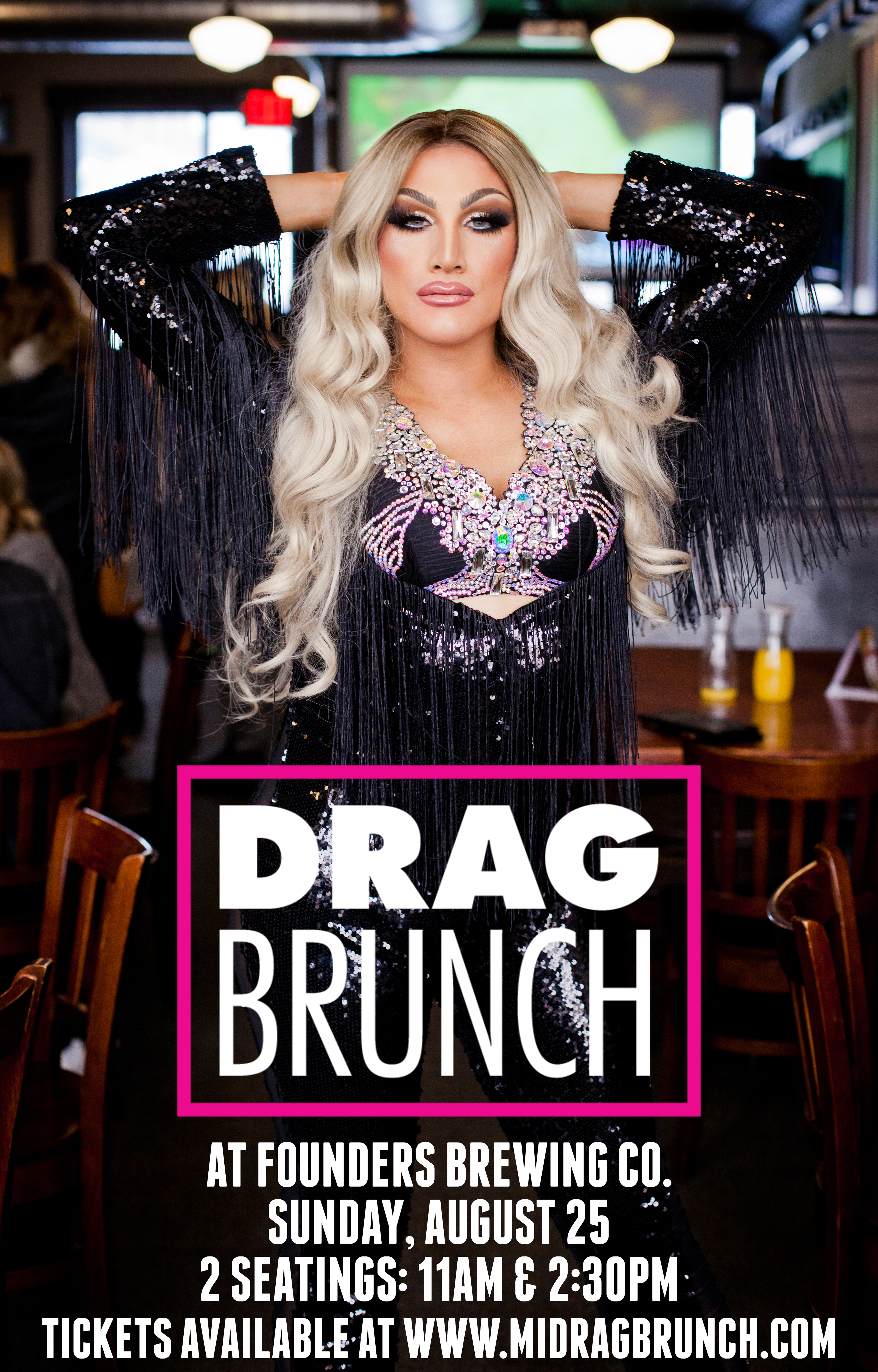 Drag Brunch event poster hosted by Founders Brewing Co.