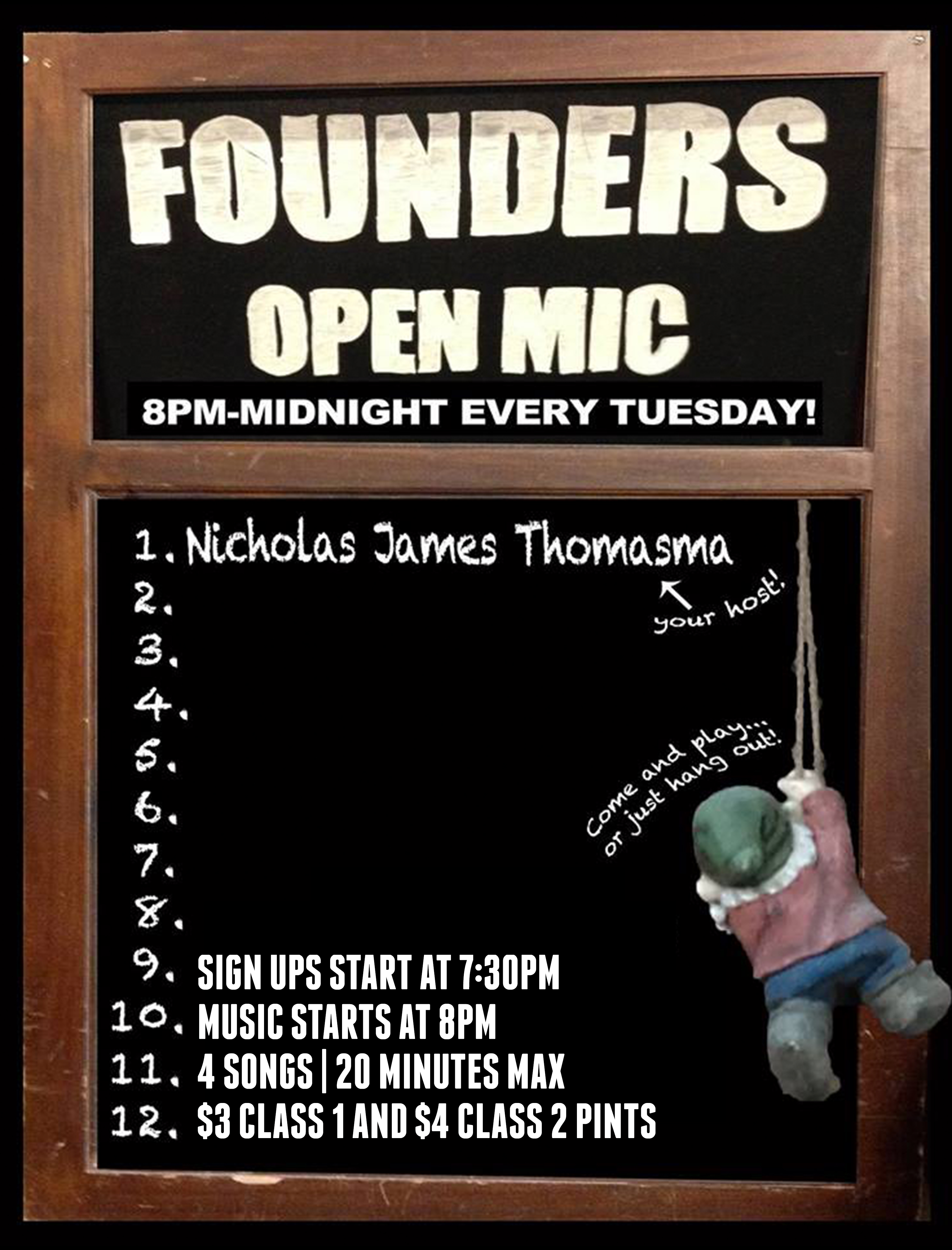 Founders Open Mic event poster