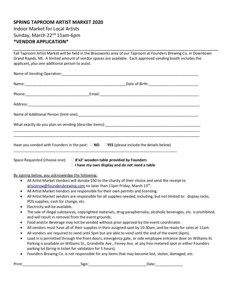 Spring Taproom Artist Market 2020 event vending sign up sheet