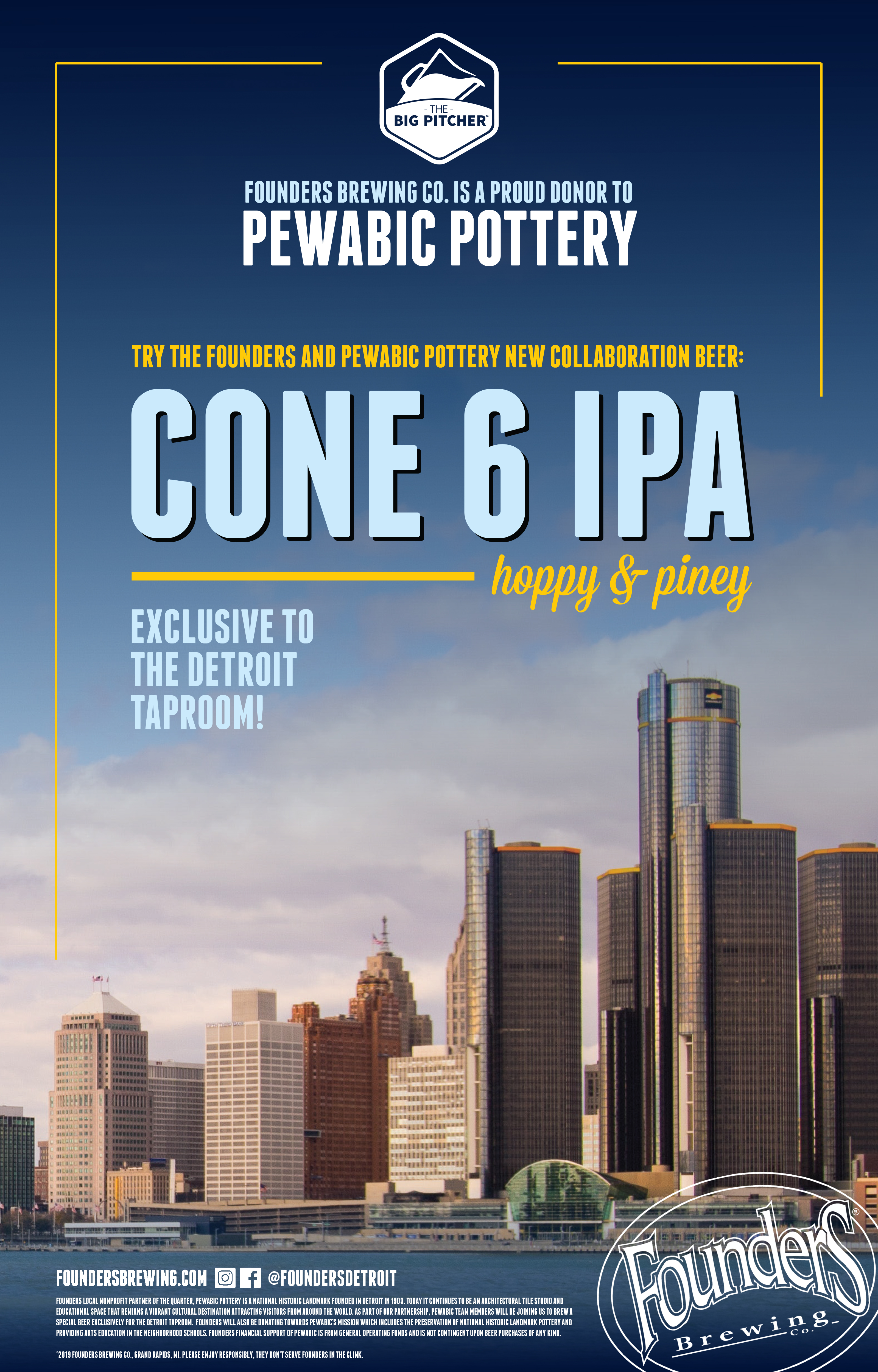 Pewabic Pottery Cone 6 IPA Exclusive to The Detroit Taproom