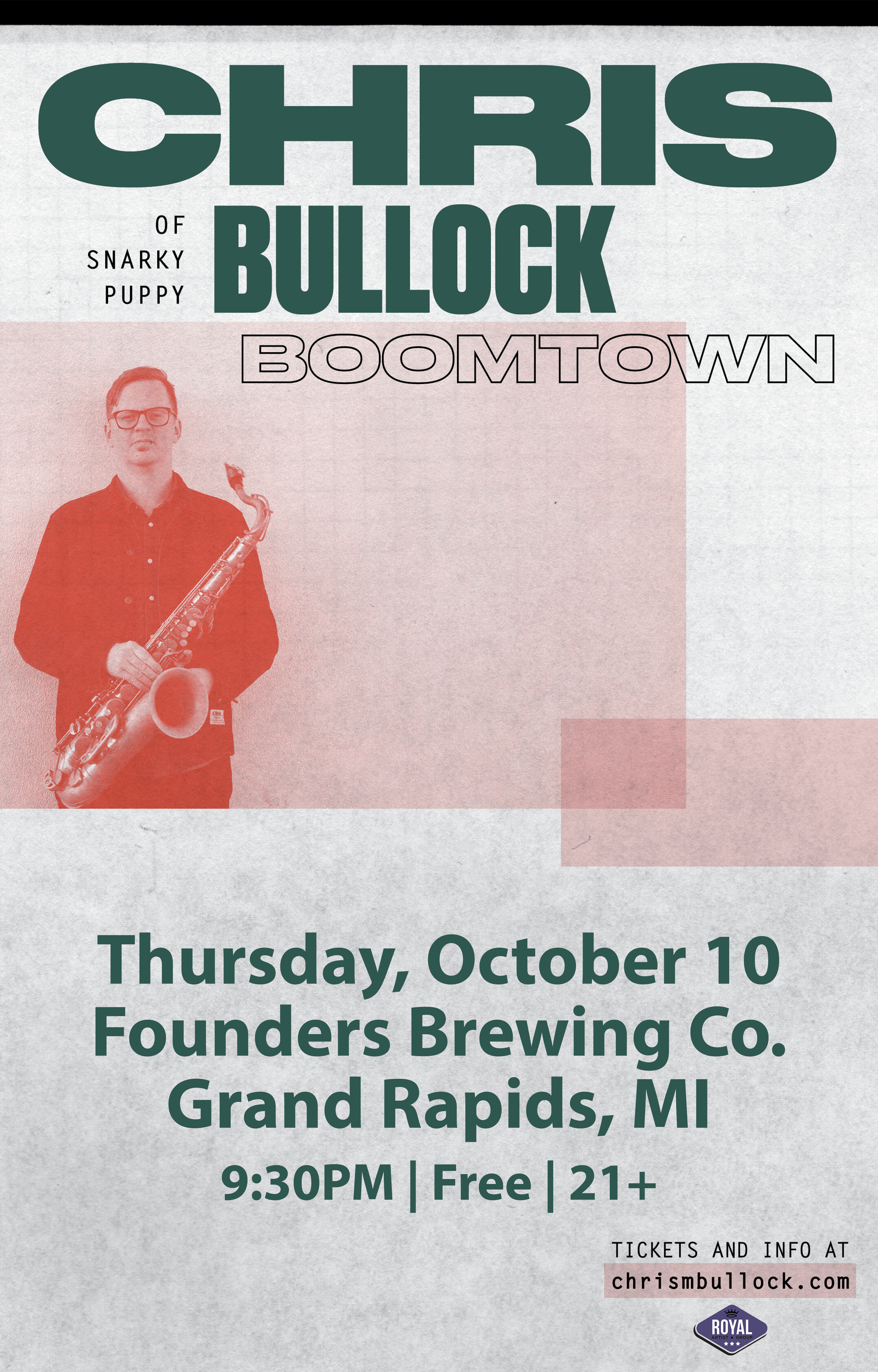 Chris Bullok event poster hosted by Founders Brewing Co.