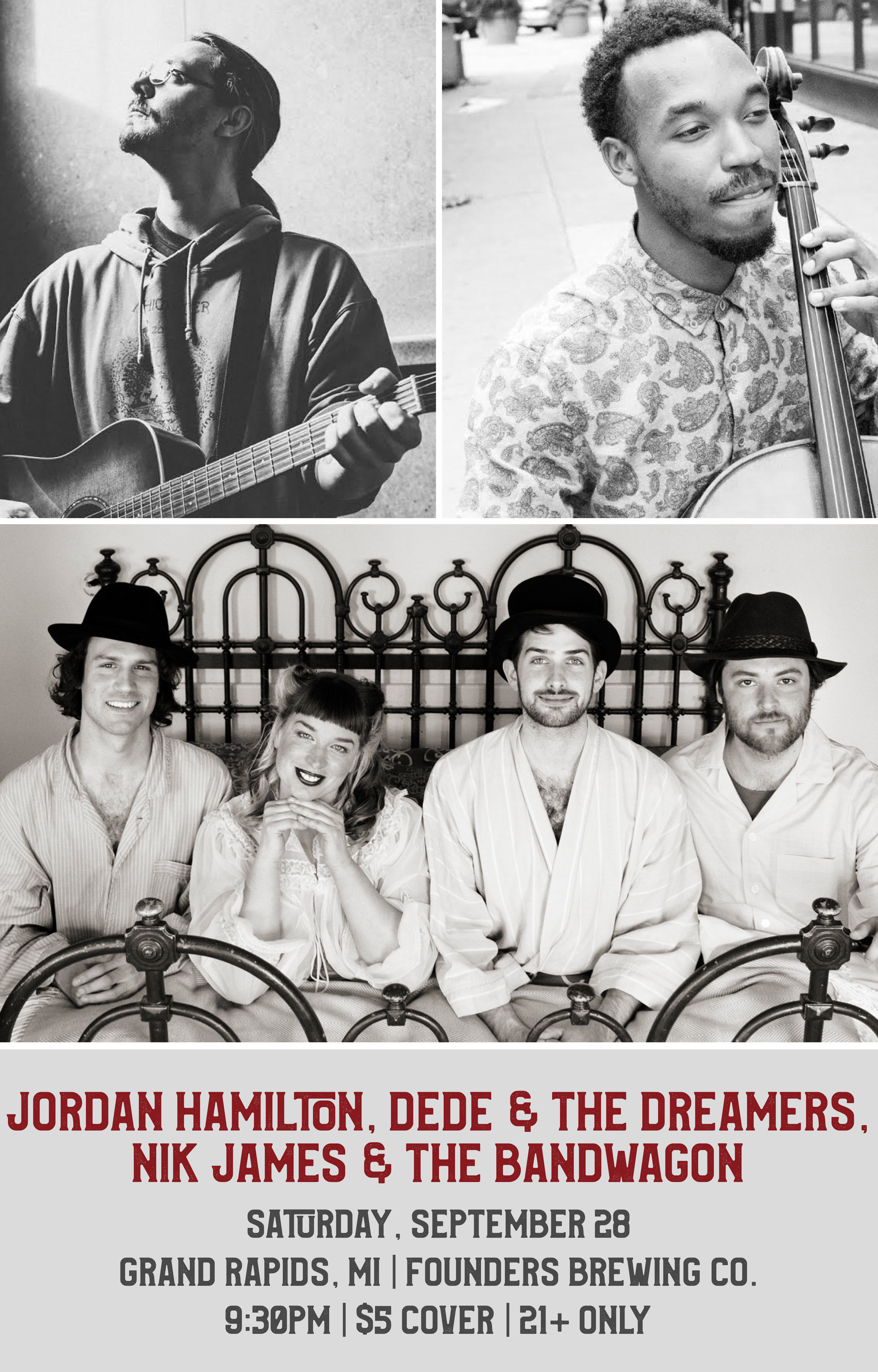 Dede & The Dreamers event poster hosted by Founders Brewing Co.