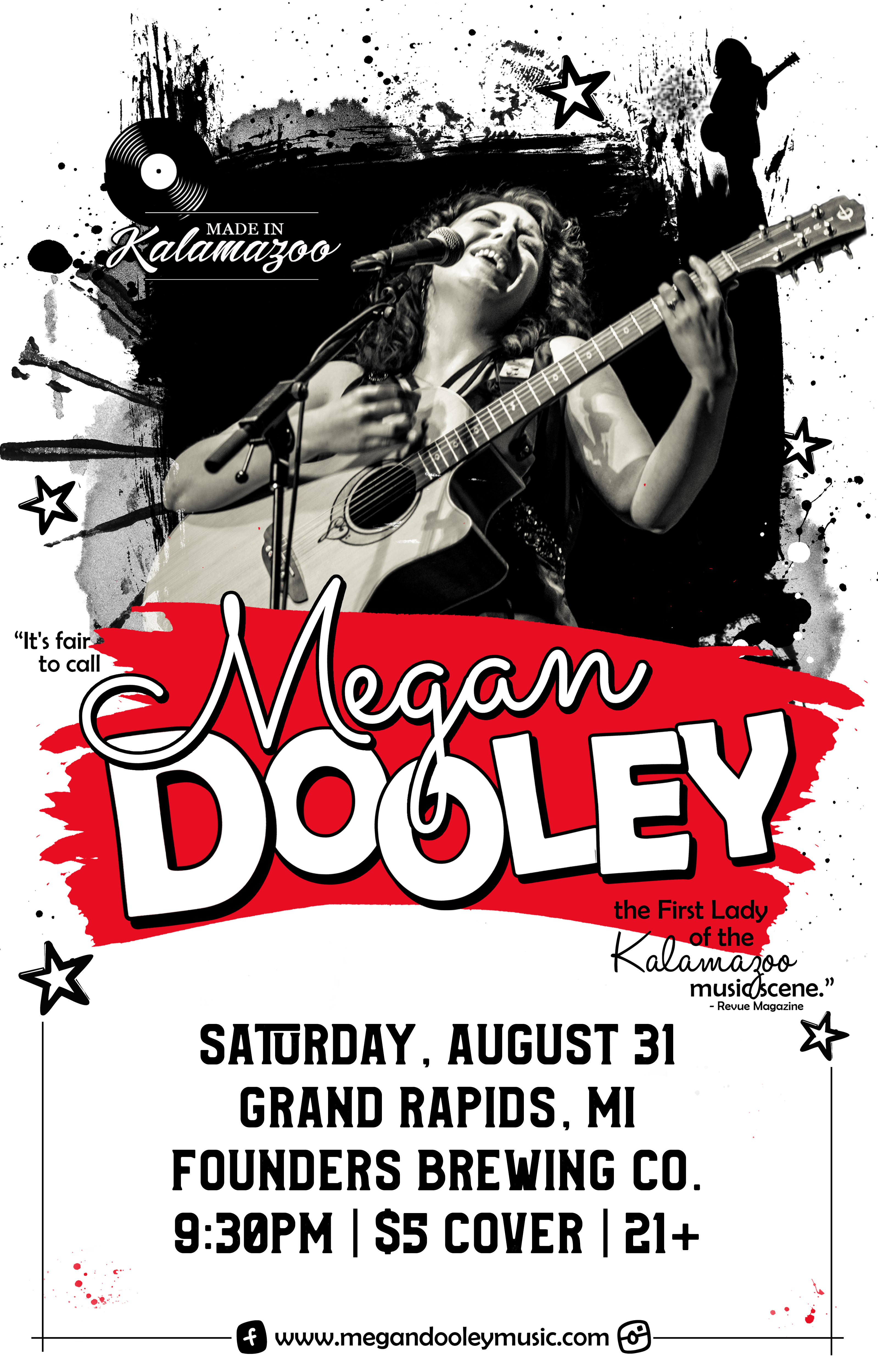 Megan Dooley event poster hosted by Founders Brewing Co.