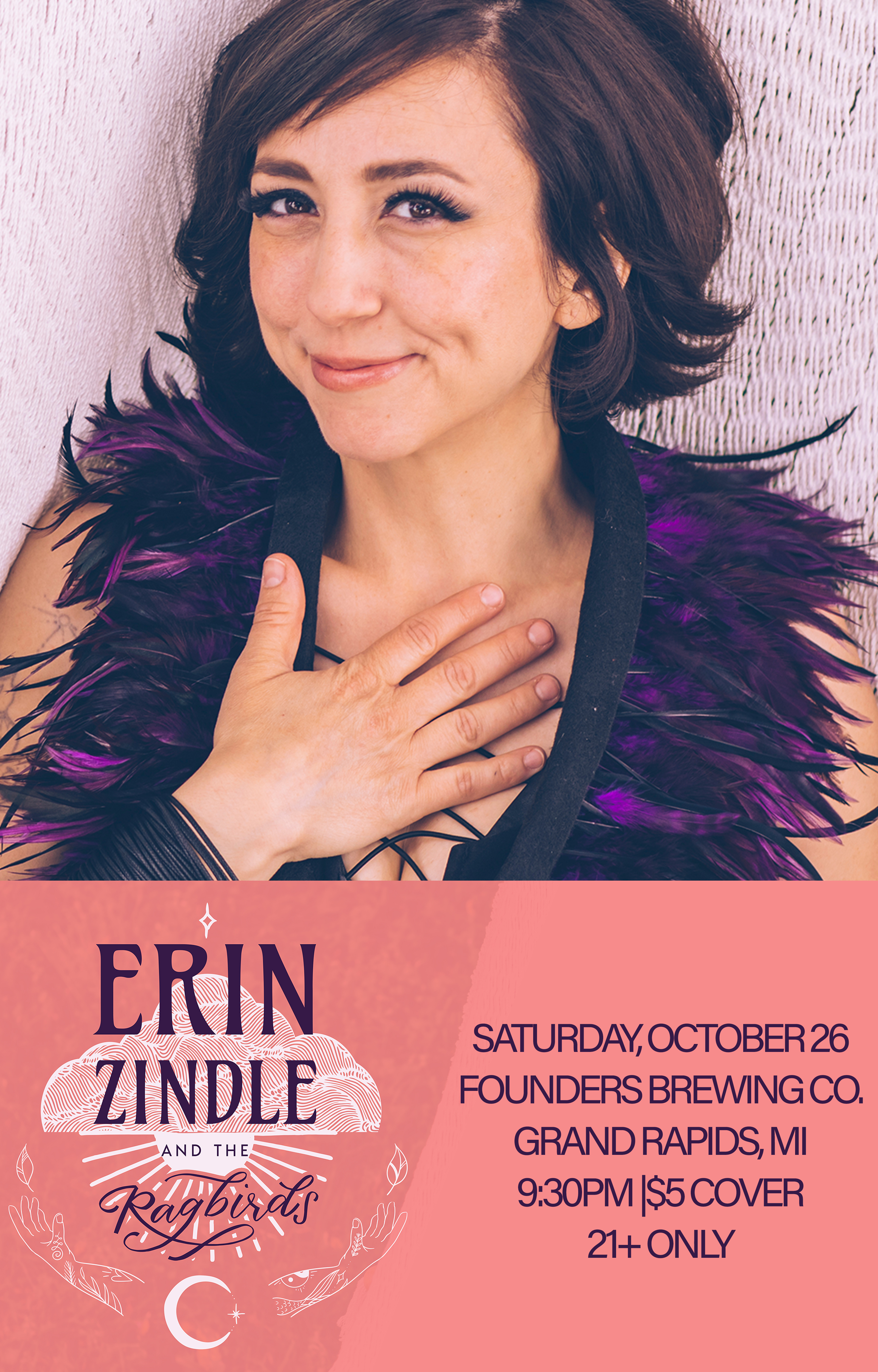 Erin Zindle event poster hosted by Founders Brewing Co.
