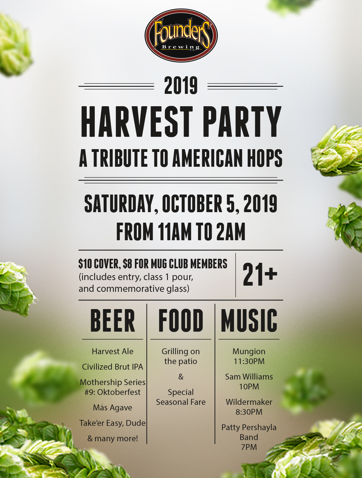 2019 Harvest Party event poster hosted by Founders Brewing Co.