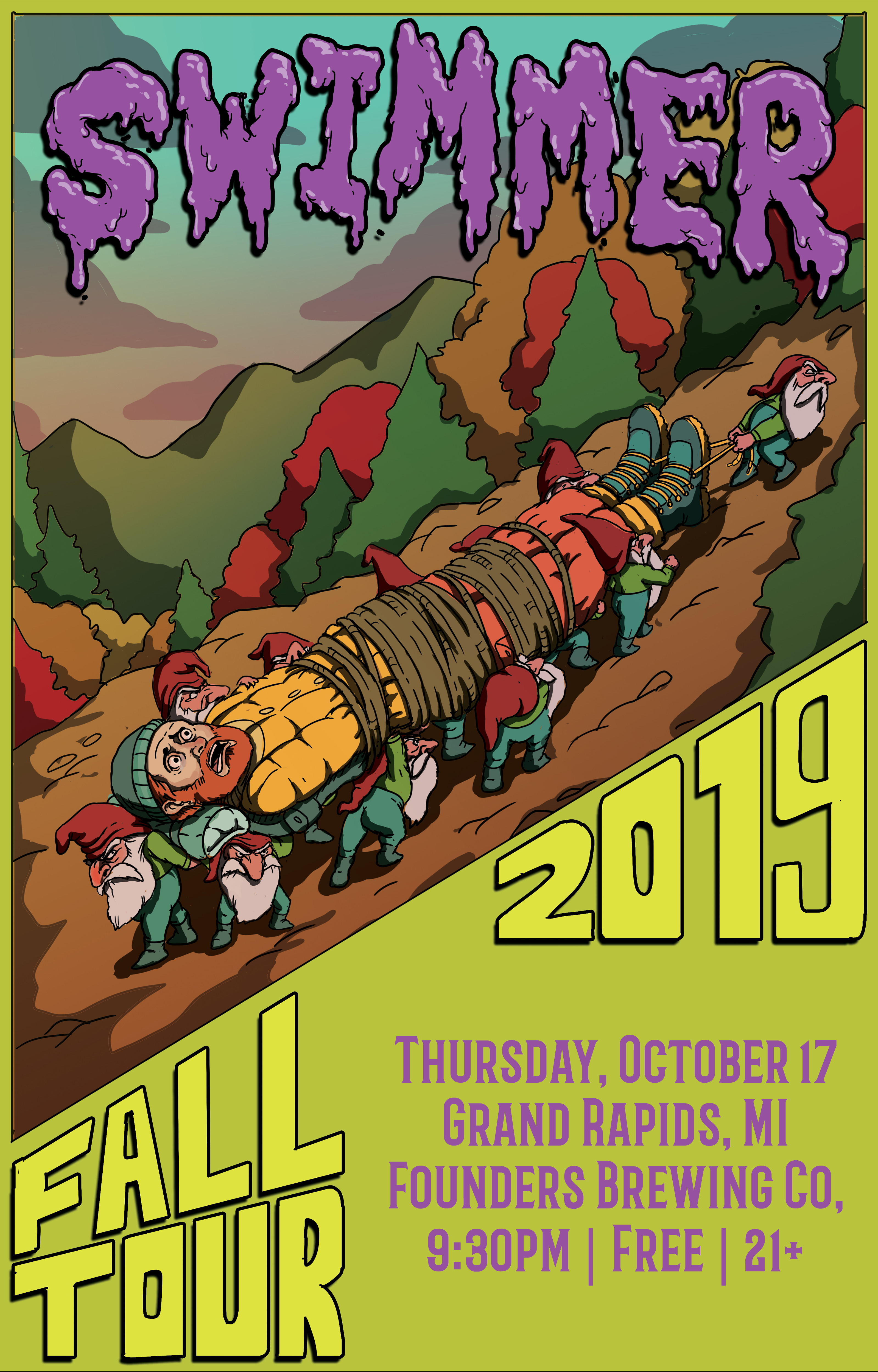 Swimmer 2019 Fall Tour event poster hosted by Founders Brewing Co.