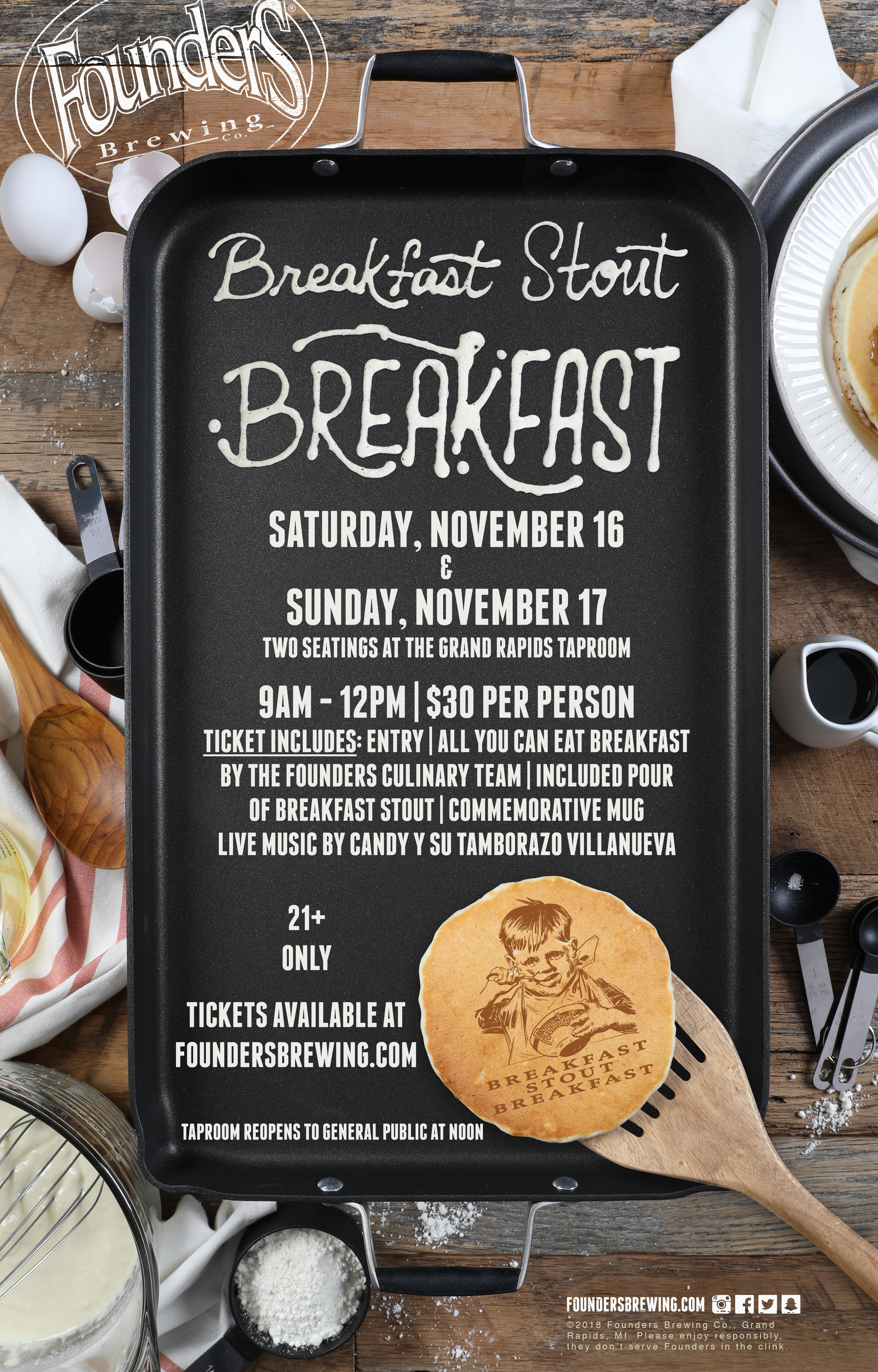 Breakfast Stout Breakfast event poster hosted at Founders Brewing Co.