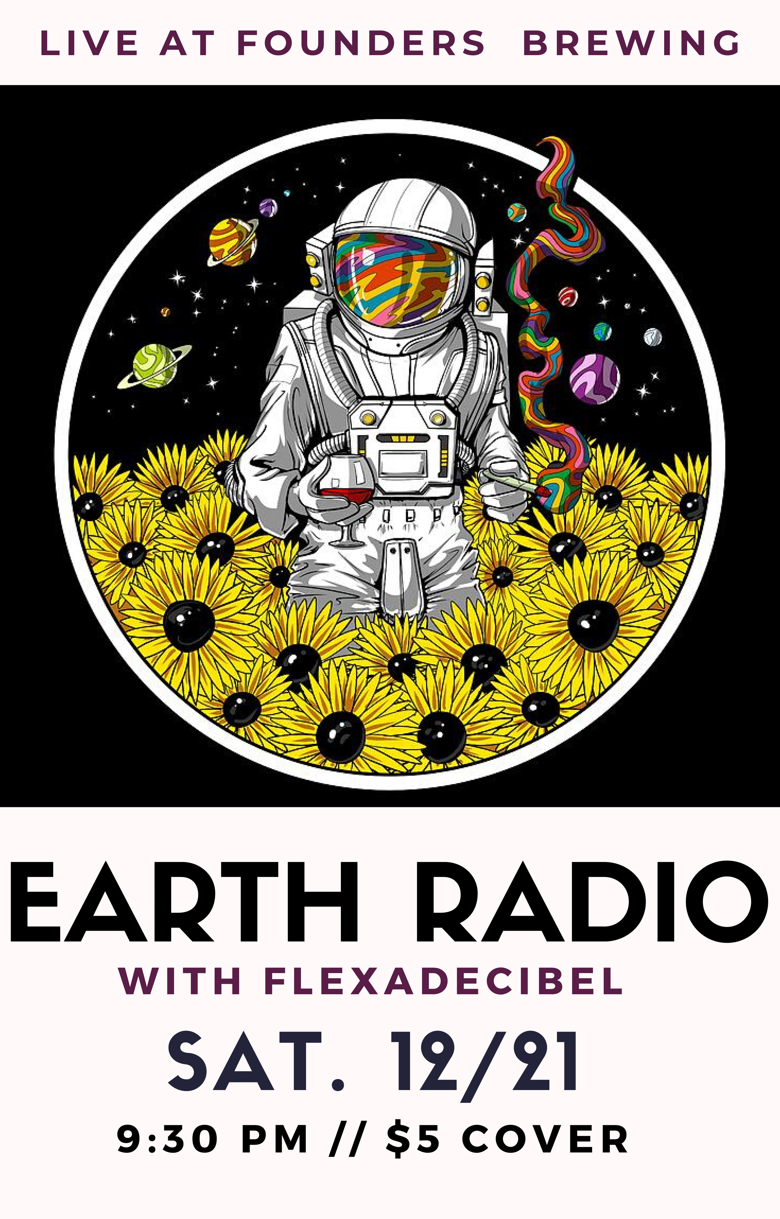 Earth Radio with Flexadecibel event poster hosted by Founders Brewing Co.