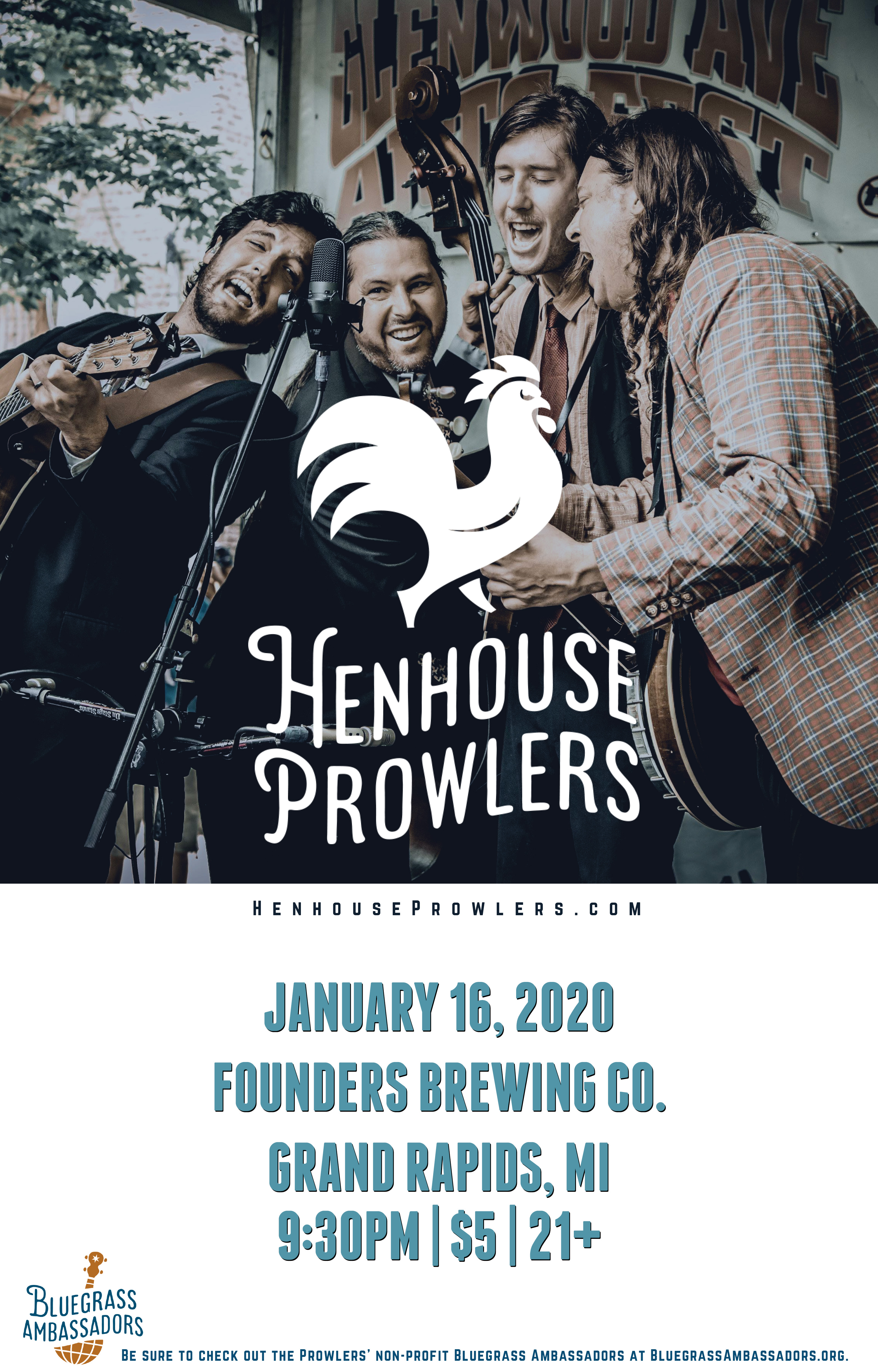 Henhouse Prowlers event poster hosted by Founders Brewing Co.