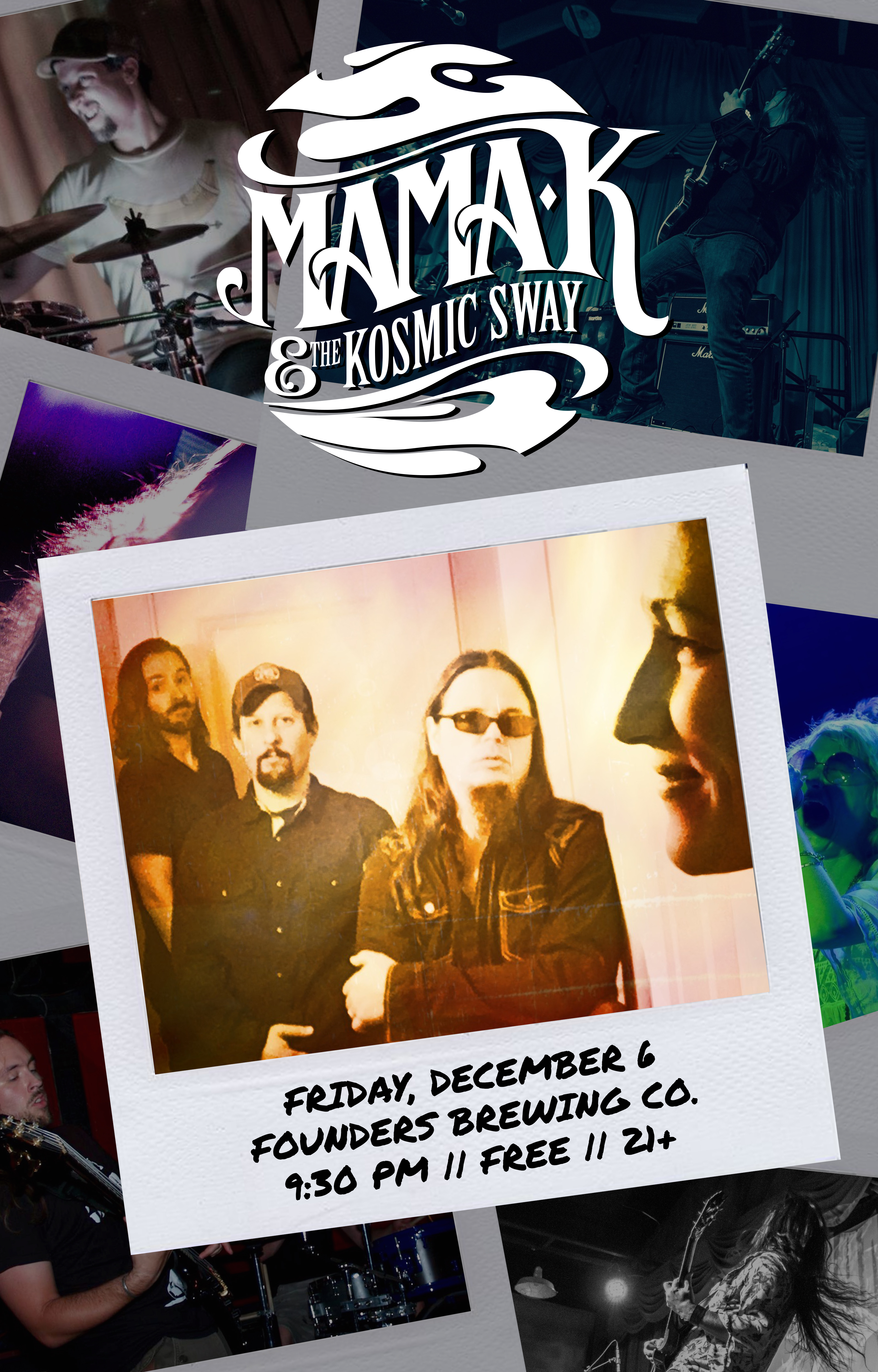 Mama K & The Kosmic Sway event poster hosted by Founders Brewing Co.