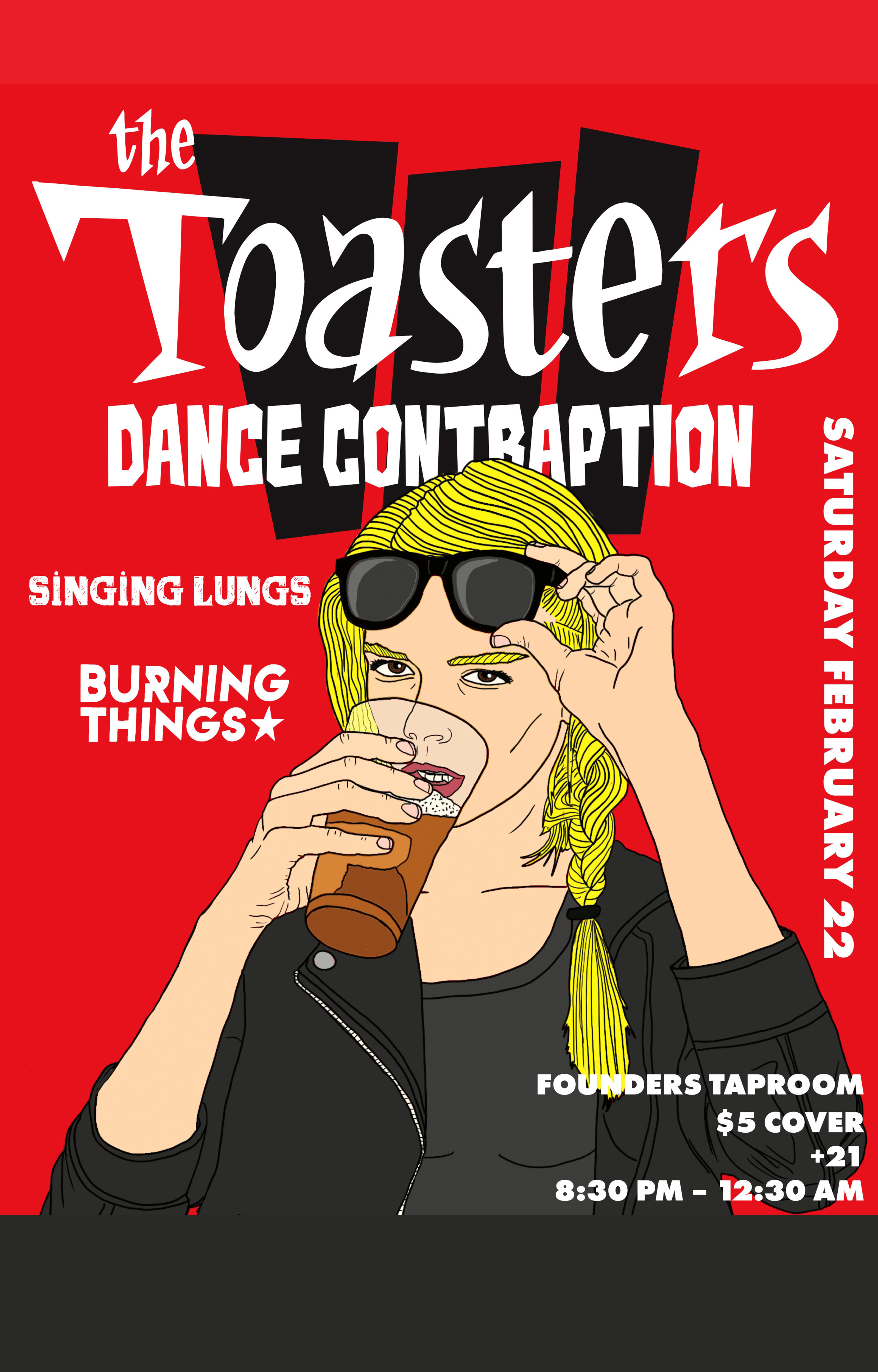 The Toasters Dance Contraption event poster hosted by Founders Brewing Co.
