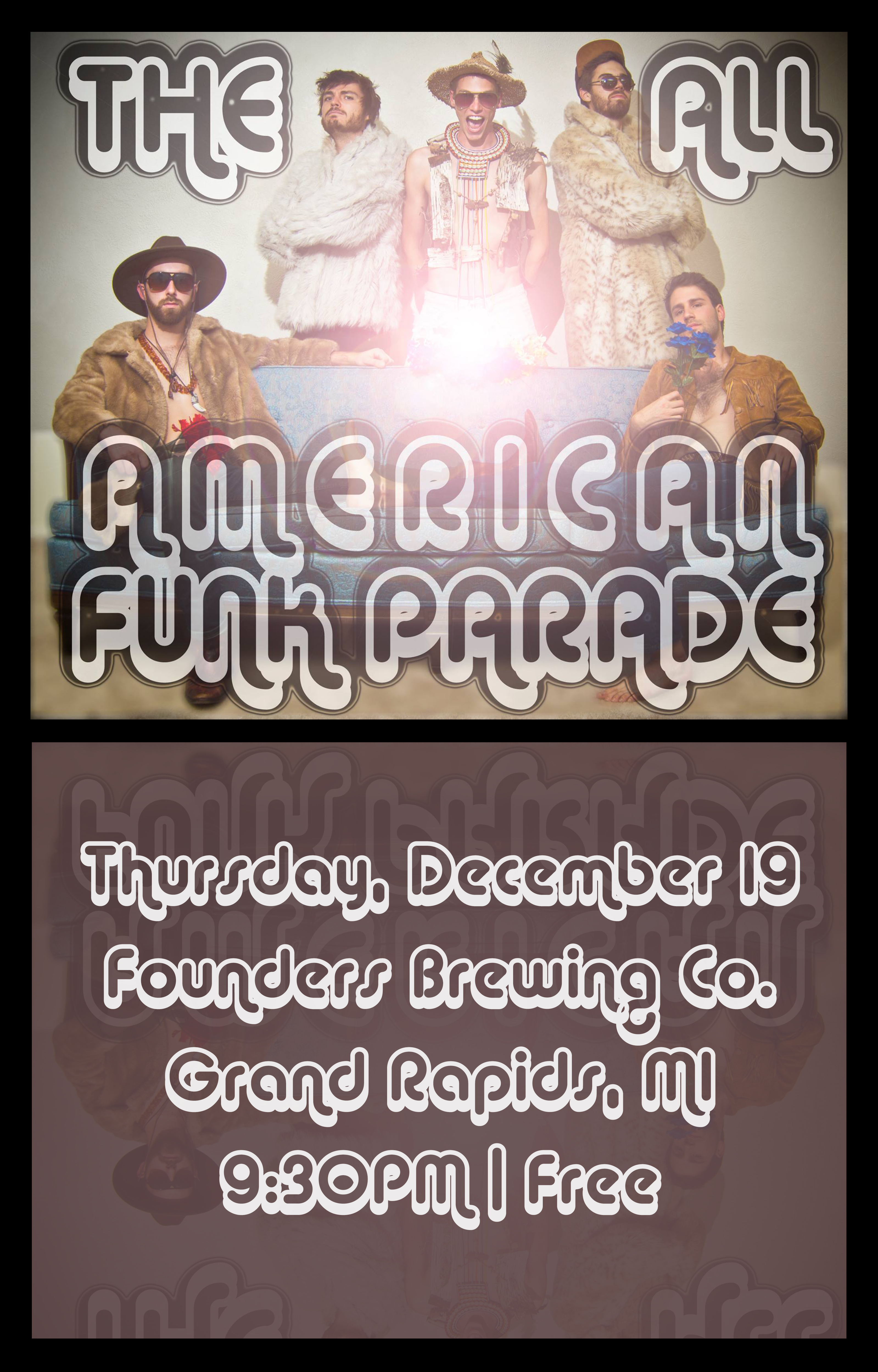 The All American Funk Parade event poster hosted by Founders Brewing Co.