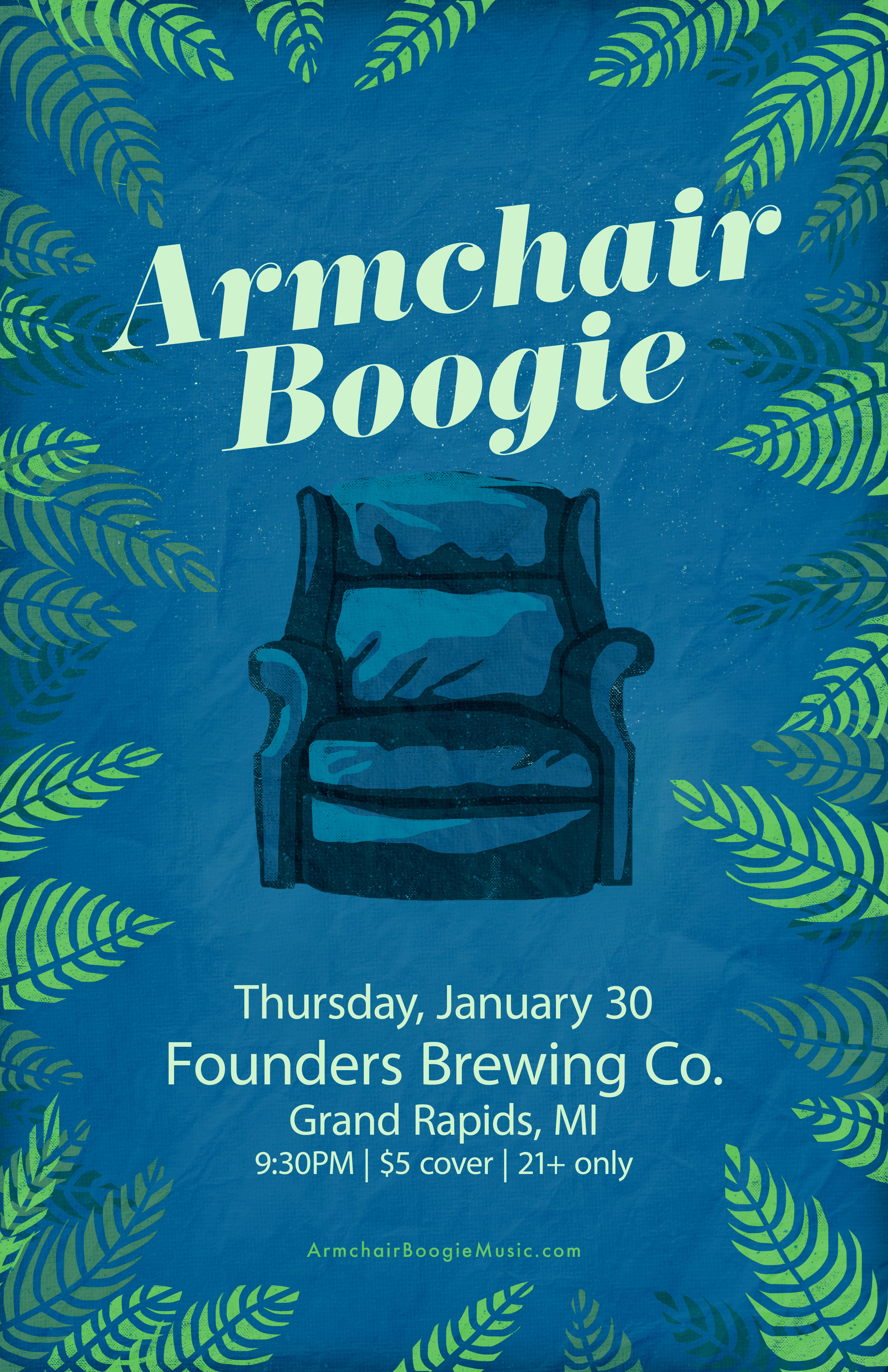 Amrchair Boogie event poster hosted by Founders Brewing Co.