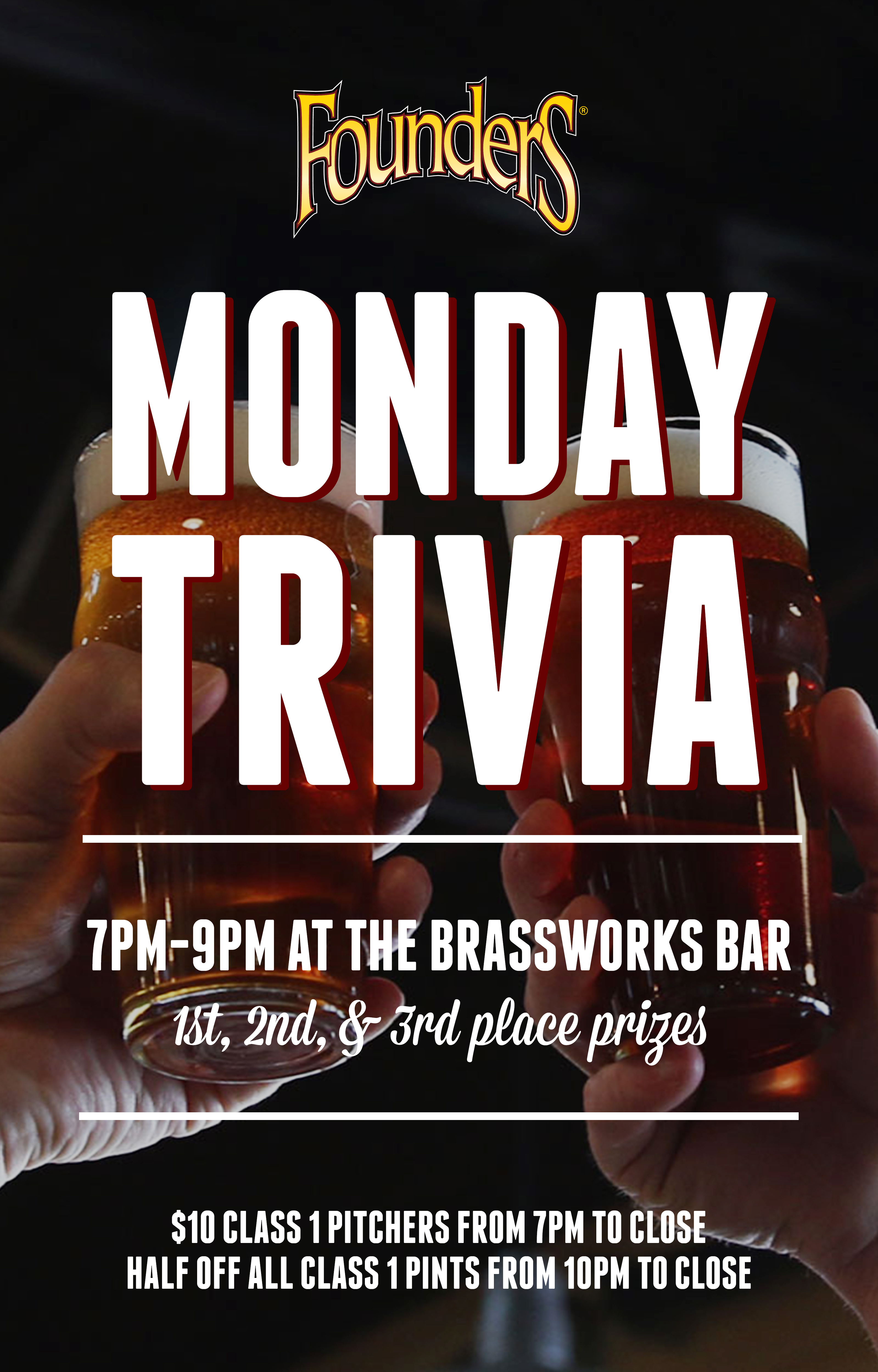 Monday Trivia event poster hosted by Founders Brewing Co,