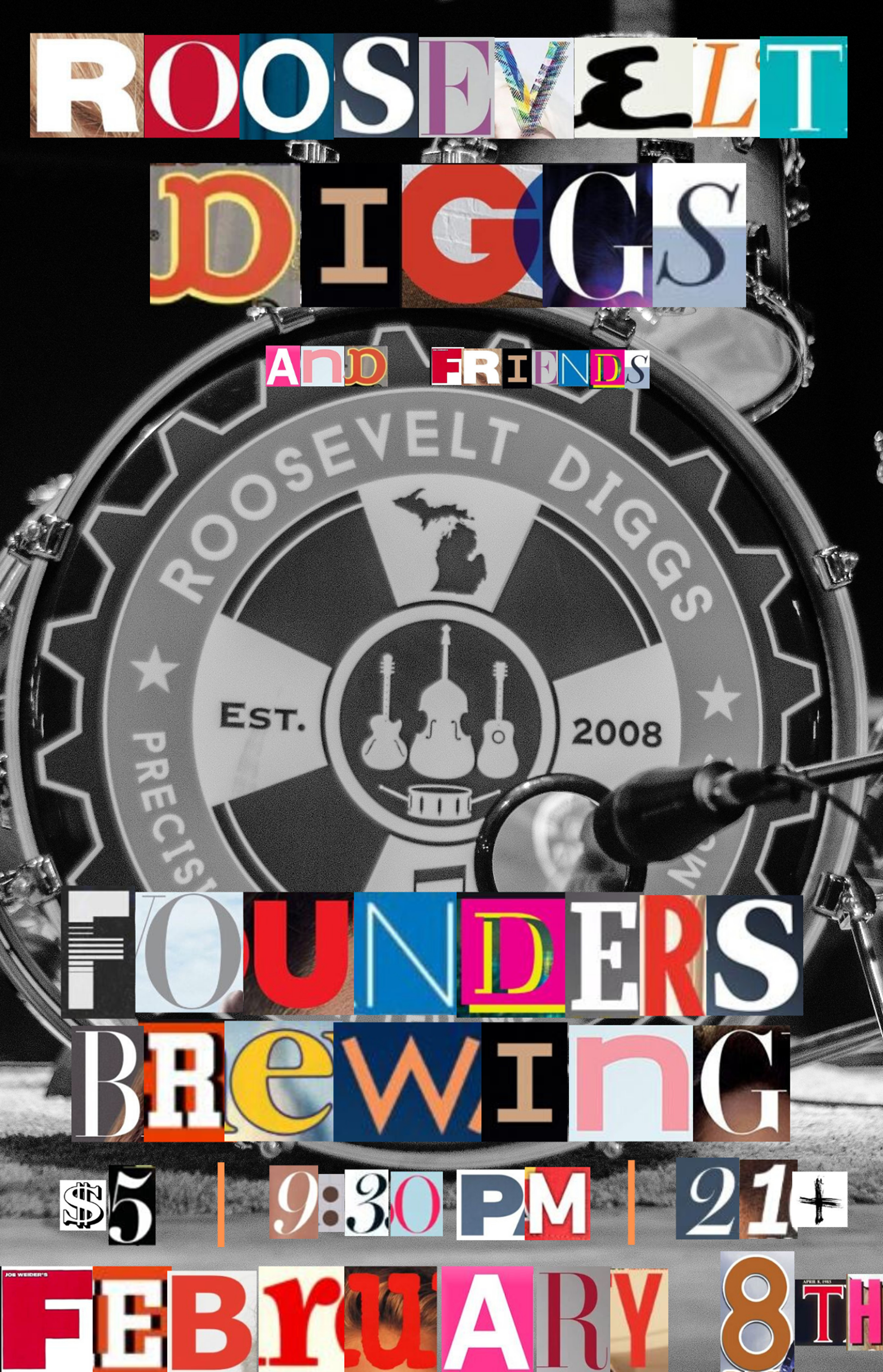 Roosevelt Diggs and Friends event poster hosted by Founders Brewing Co.