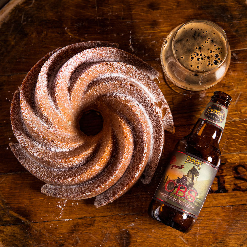 Pastry, beer glass, beer bottle of Founders CBS