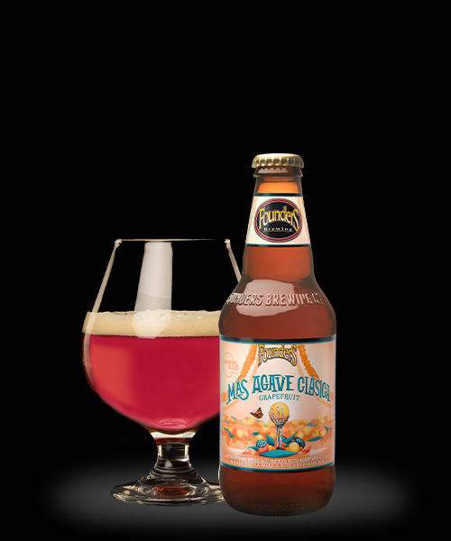 Mas Agave Clasica Grapefruit in front of 8 oz snifter