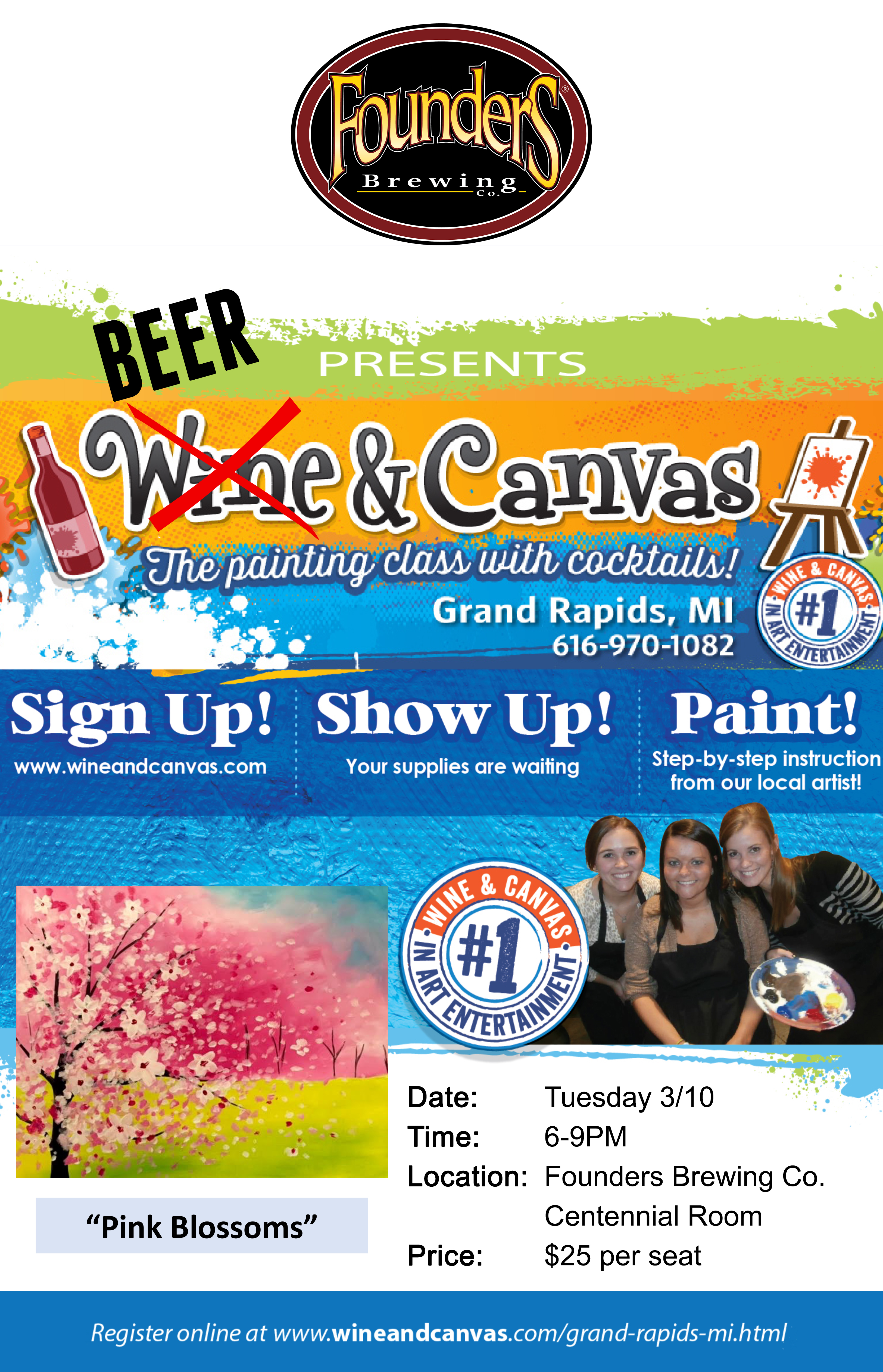 Event poster for Founders Beer & Canvas night in Grand Rapids