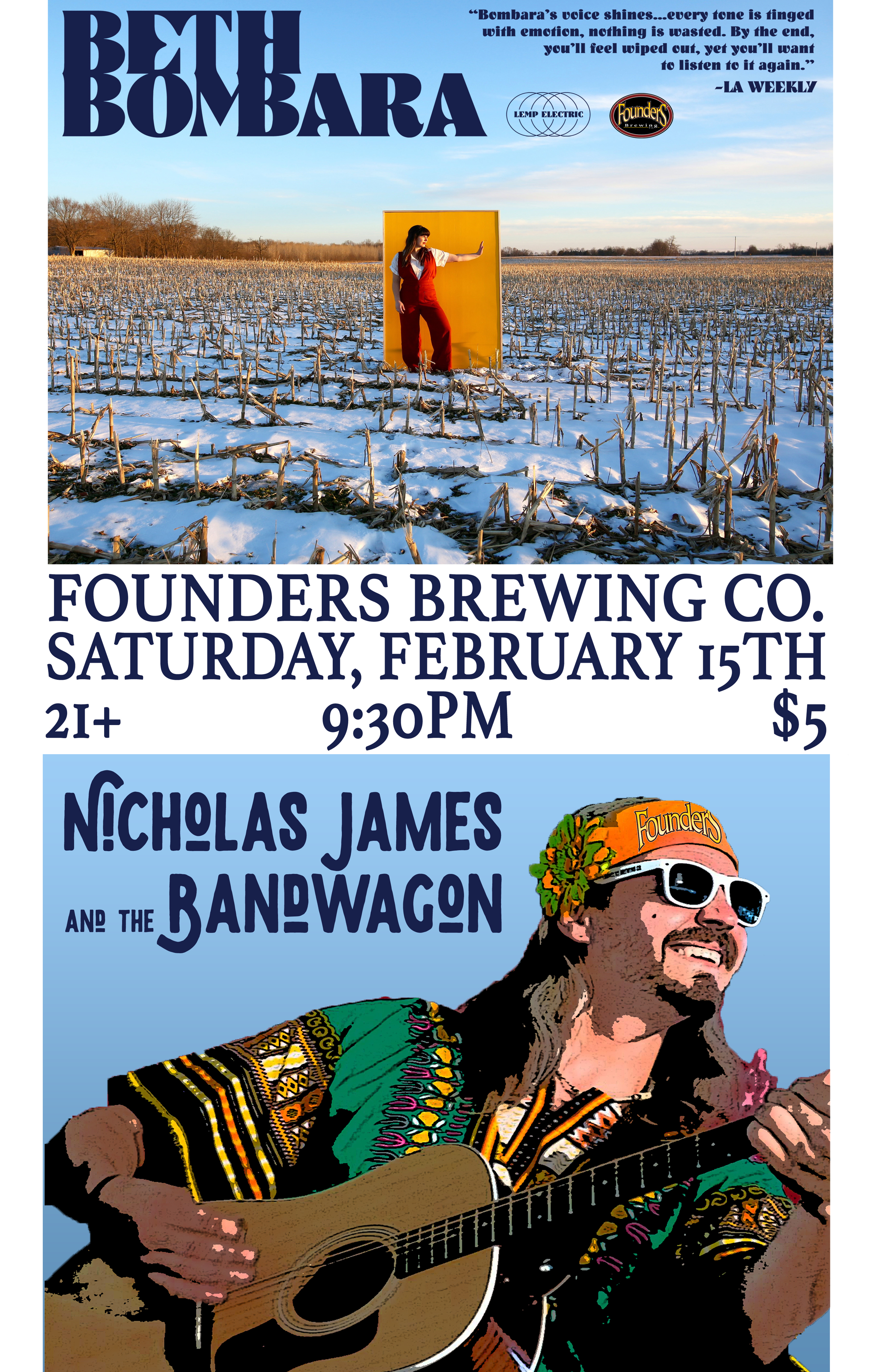 Beth Bombara and Nicholas James event poster hosted by Founders Brewing Co.