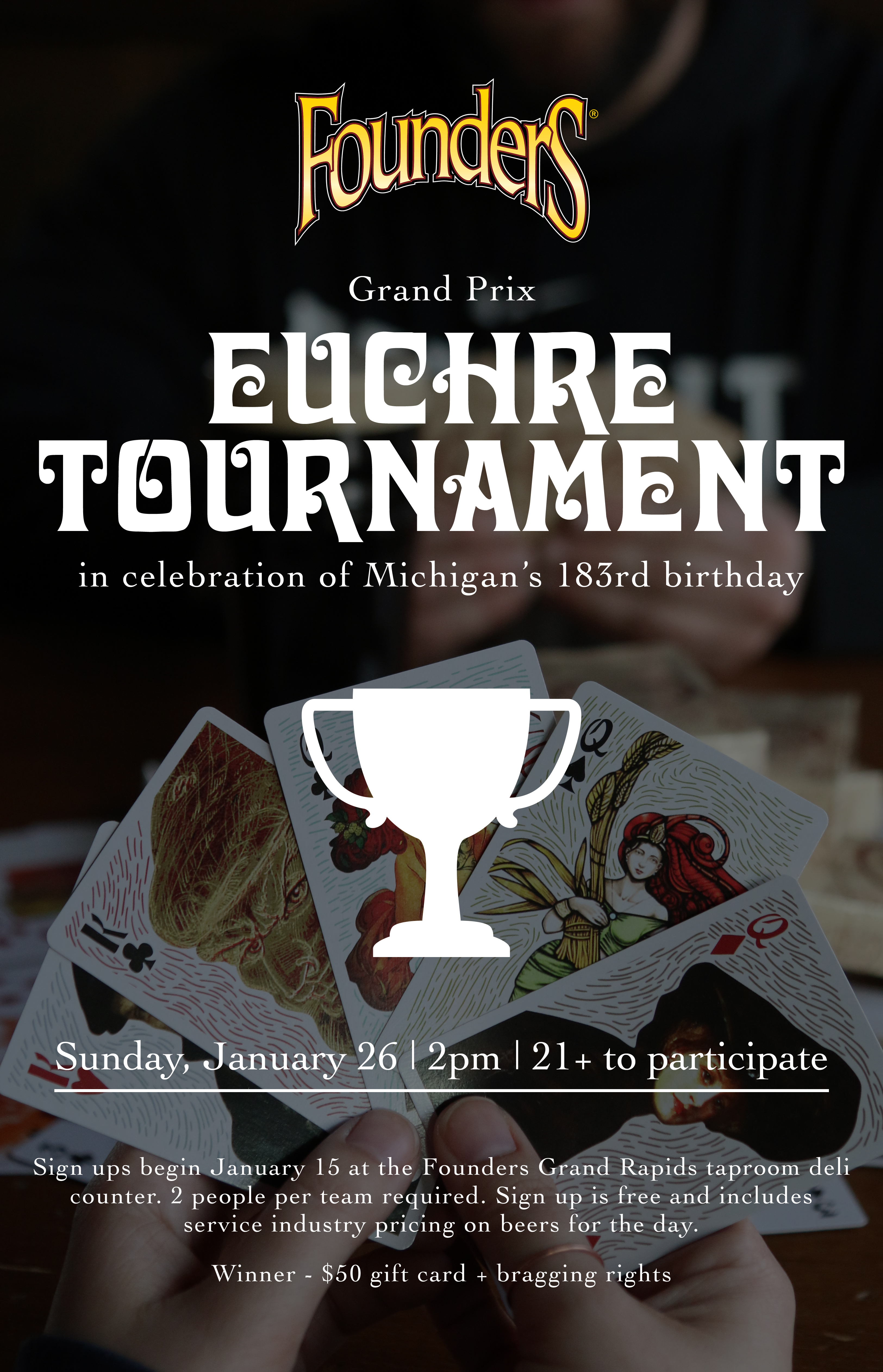 Euchre Tournament event poster hosted by Founders Brewing Co.