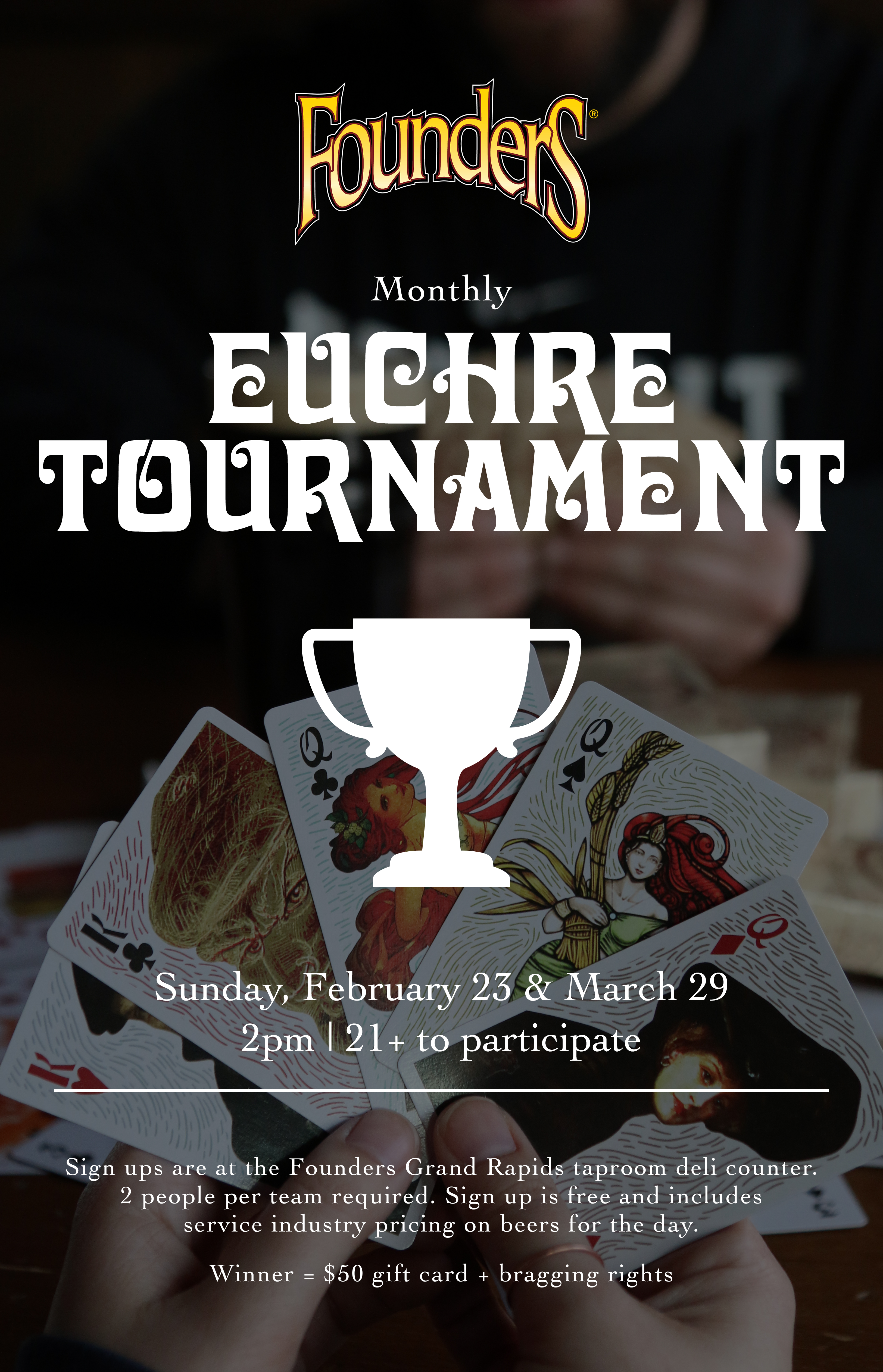 Monthly Euchre Tournament event poster