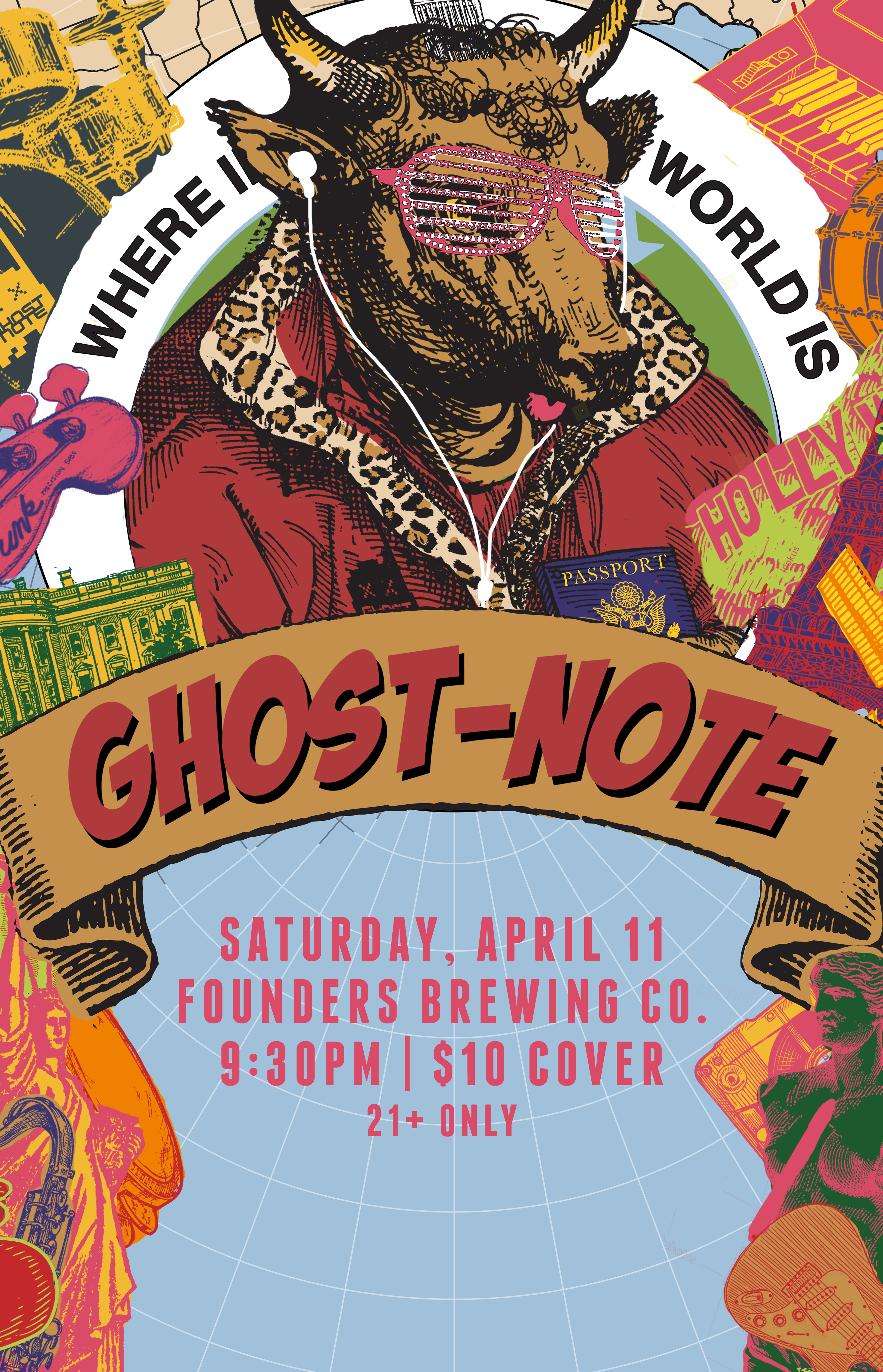 Ghost Note event poster hosted by Founders Brewing Co.