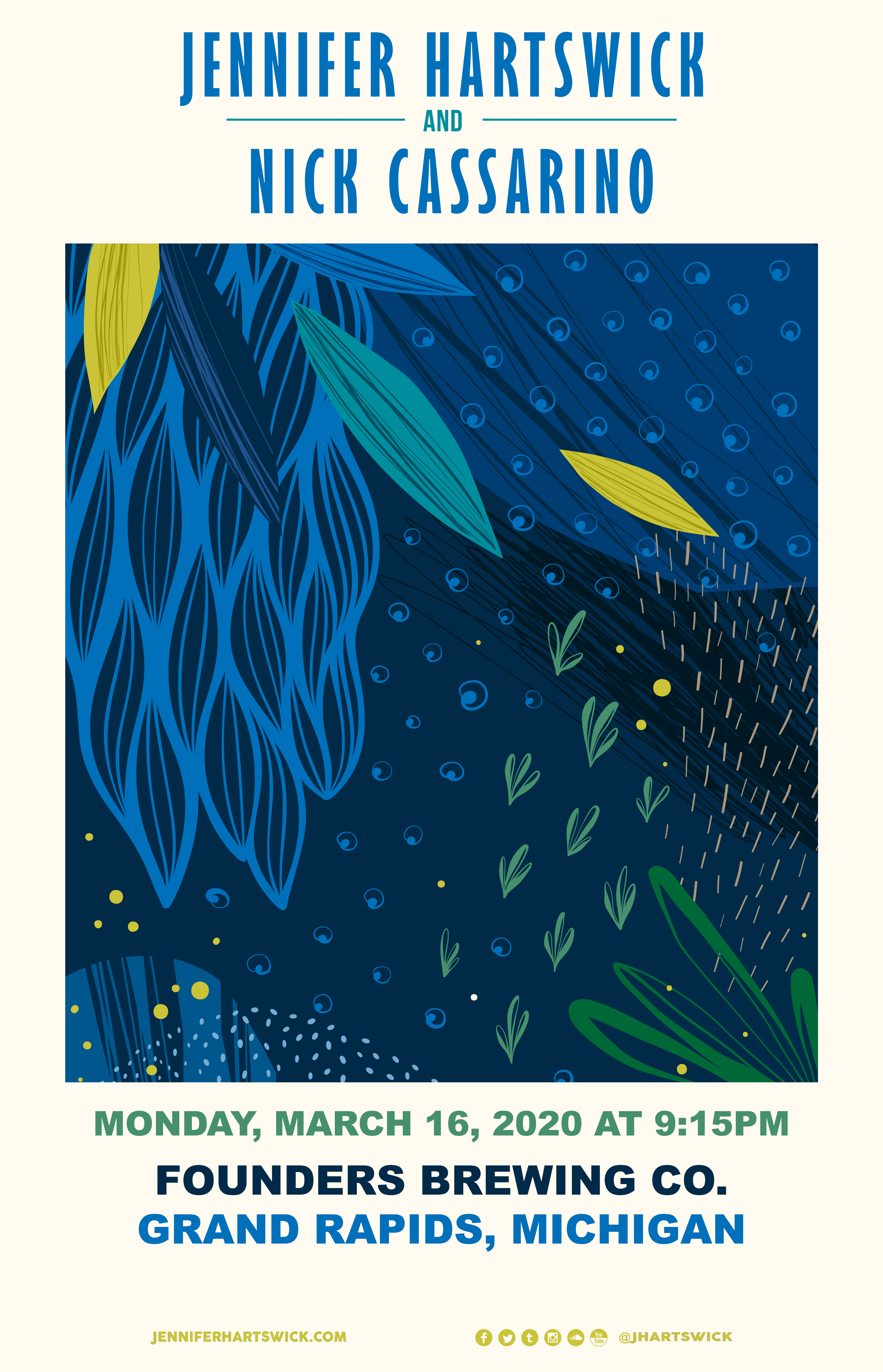 Jennifer Hartswick and Nick Cassarino event poster hosted by Founders Brewing Co.