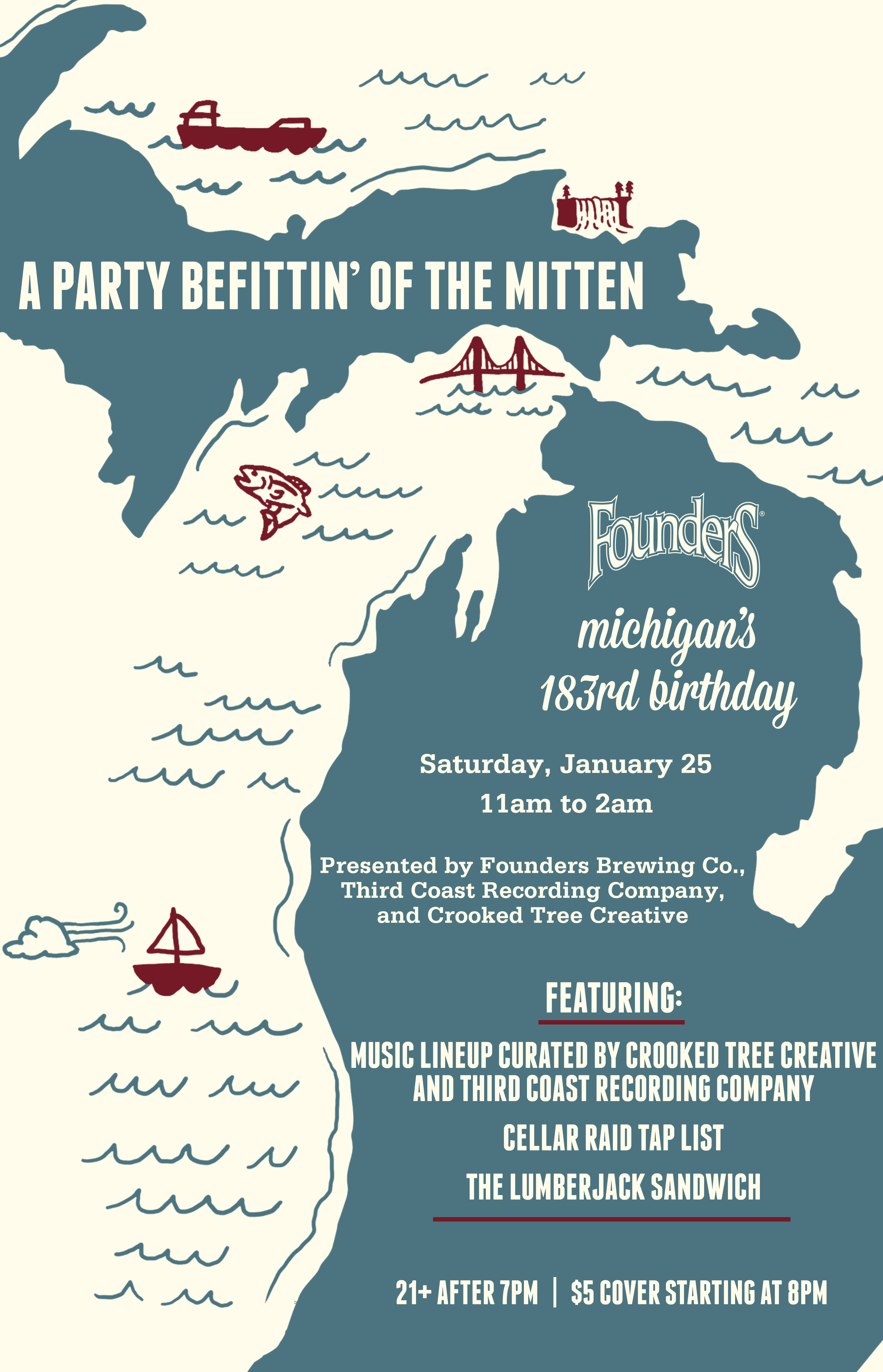 Michigan's 183rd Birthday event poster hosted by Founders Brewing Co.