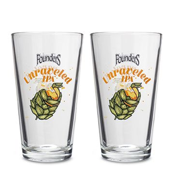 Two Unraveled IPA Pint Glasses