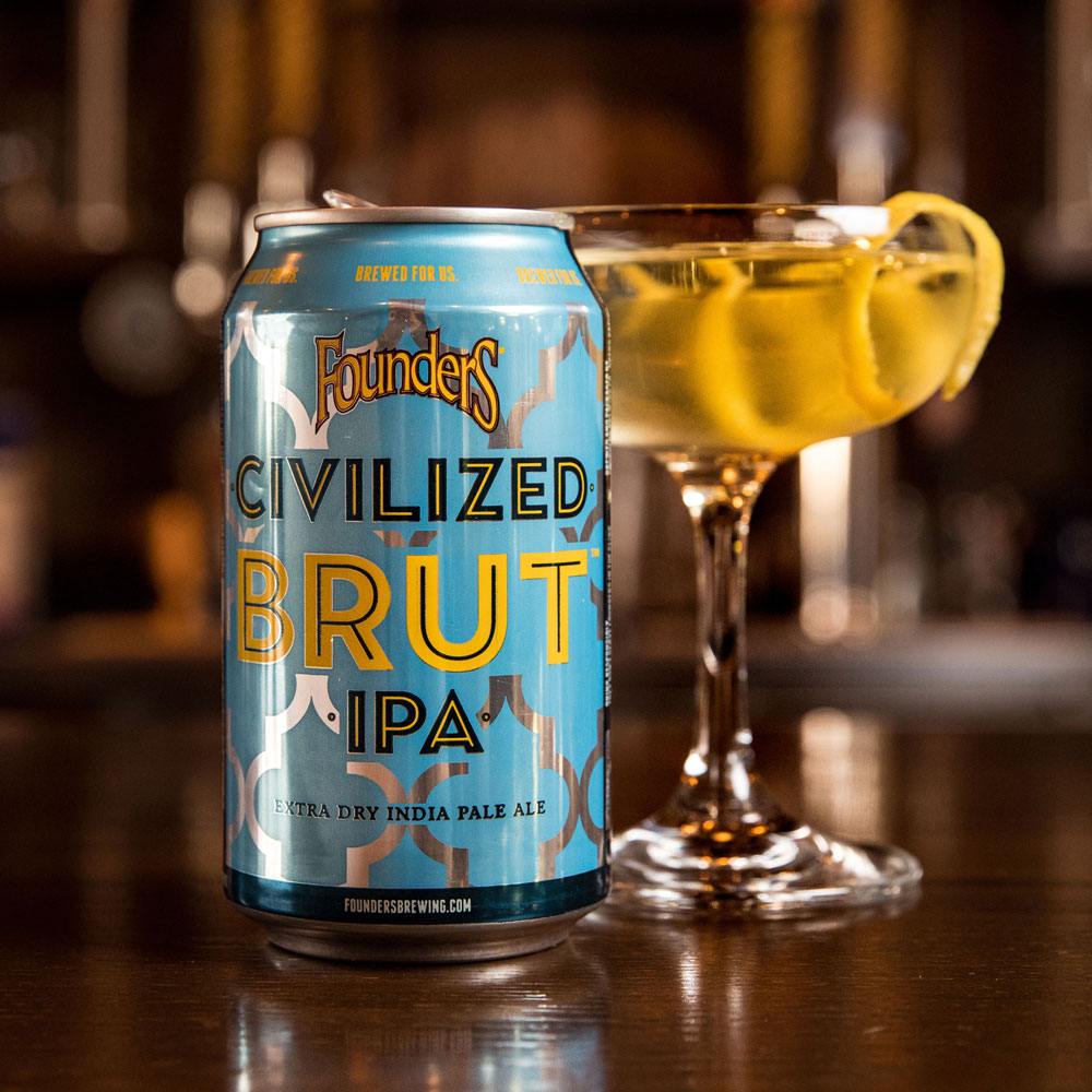 Founders Civilized Brut IPA in can and in glass