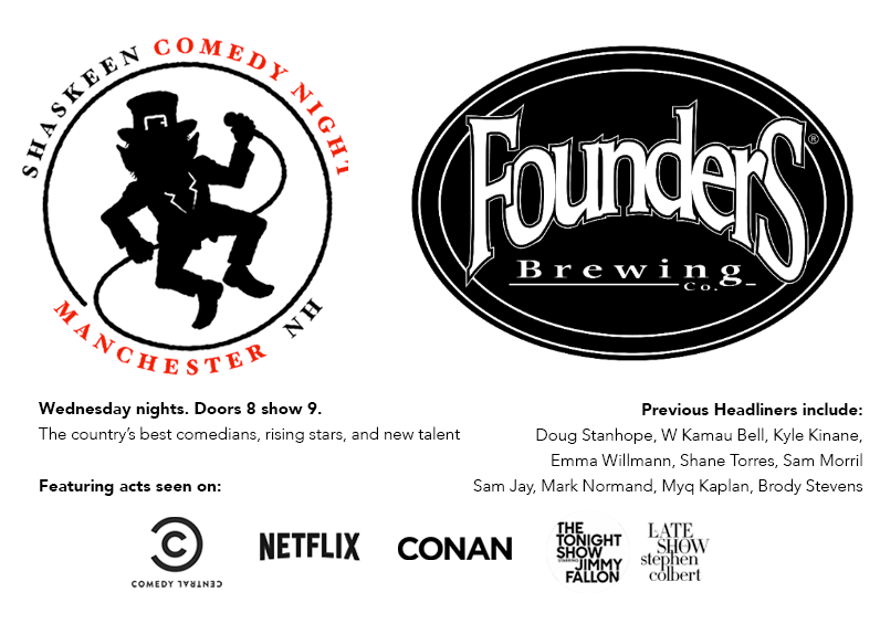 Shaskeen Comedy Night event banner hosted by Founders Brewing Co.