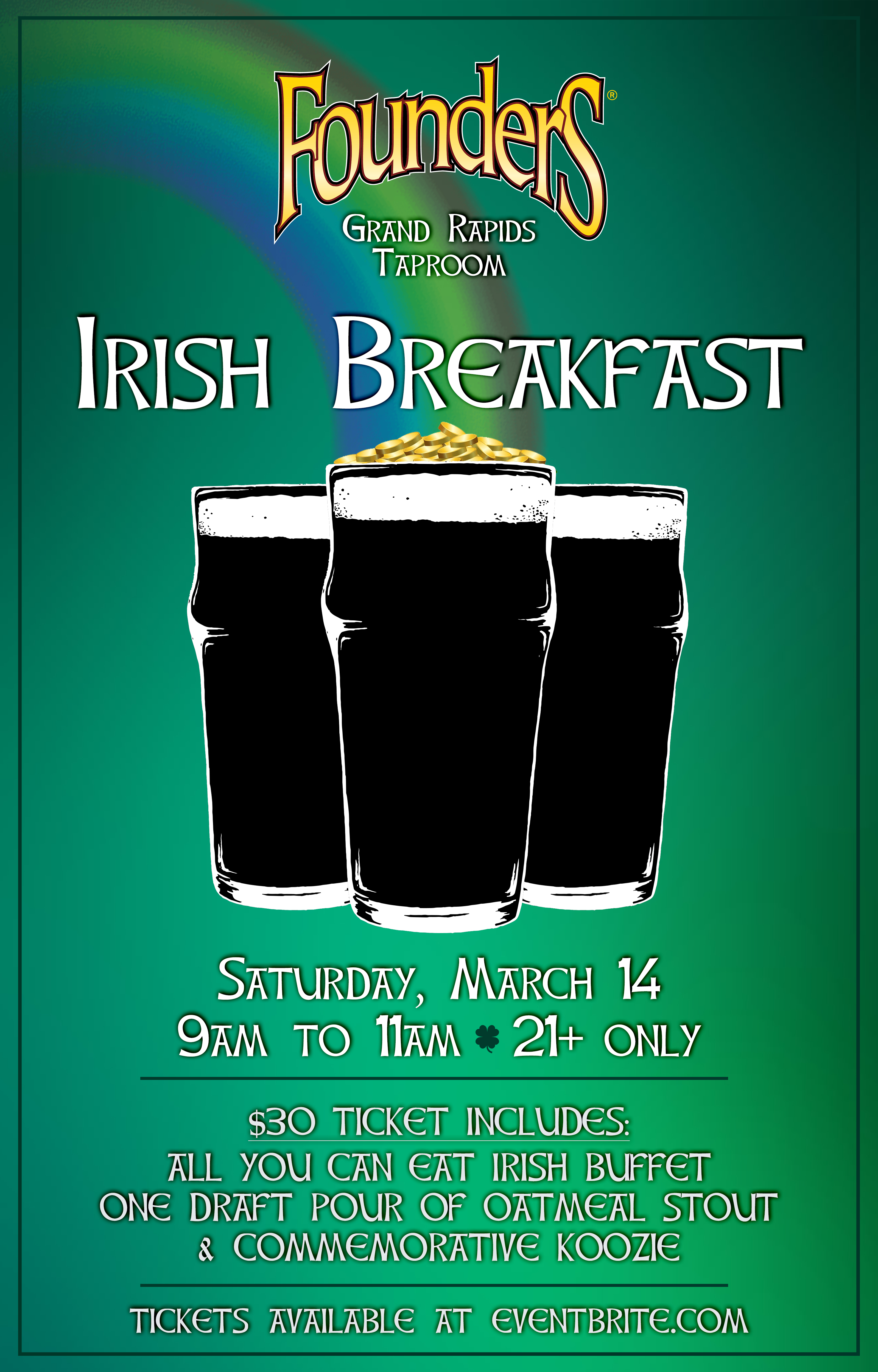 Irish Breakfast event poster hosted by Founders Brewing Co.