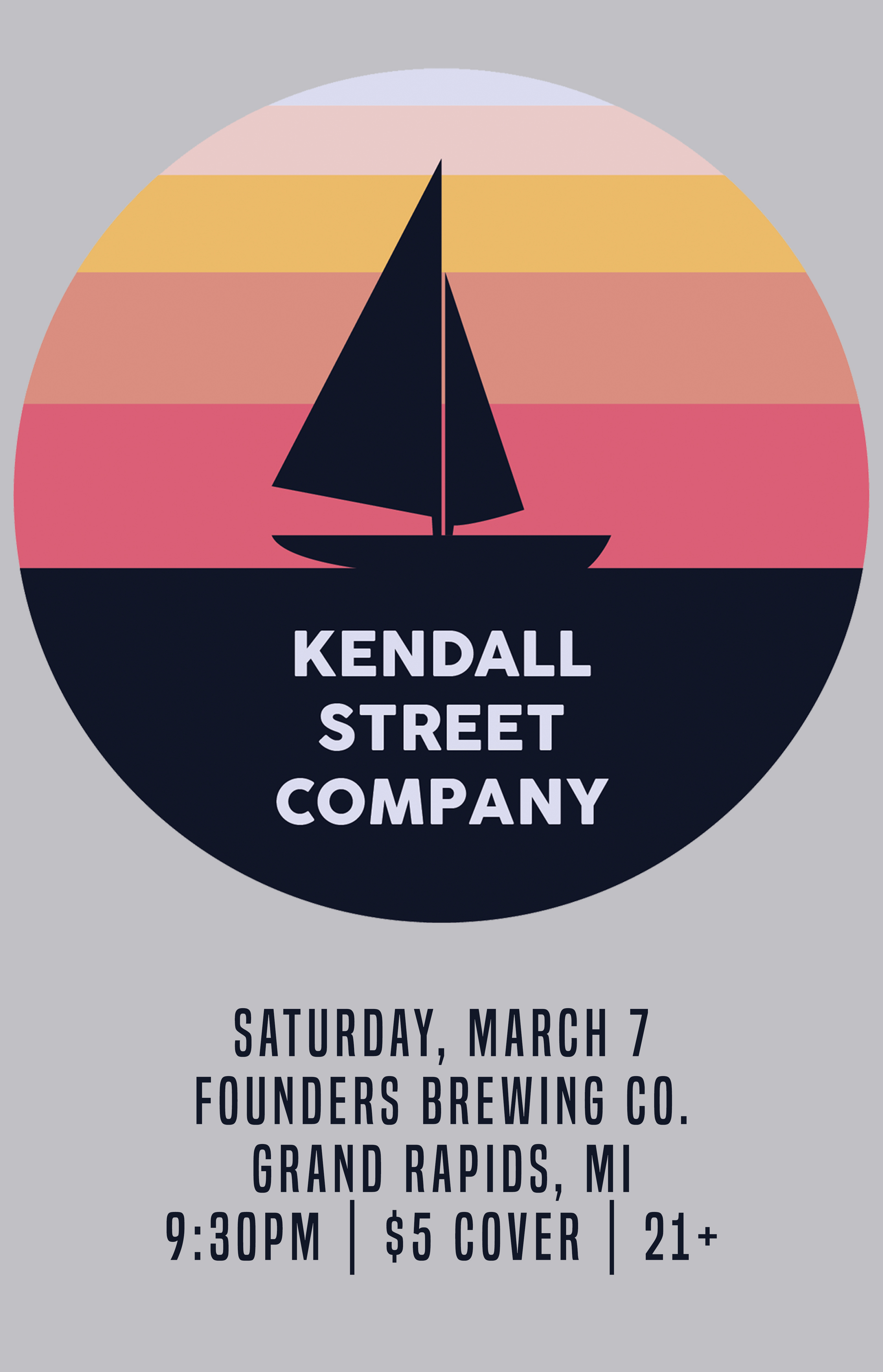Kendall Street Company event poster hosted by Founders Brewing Co.