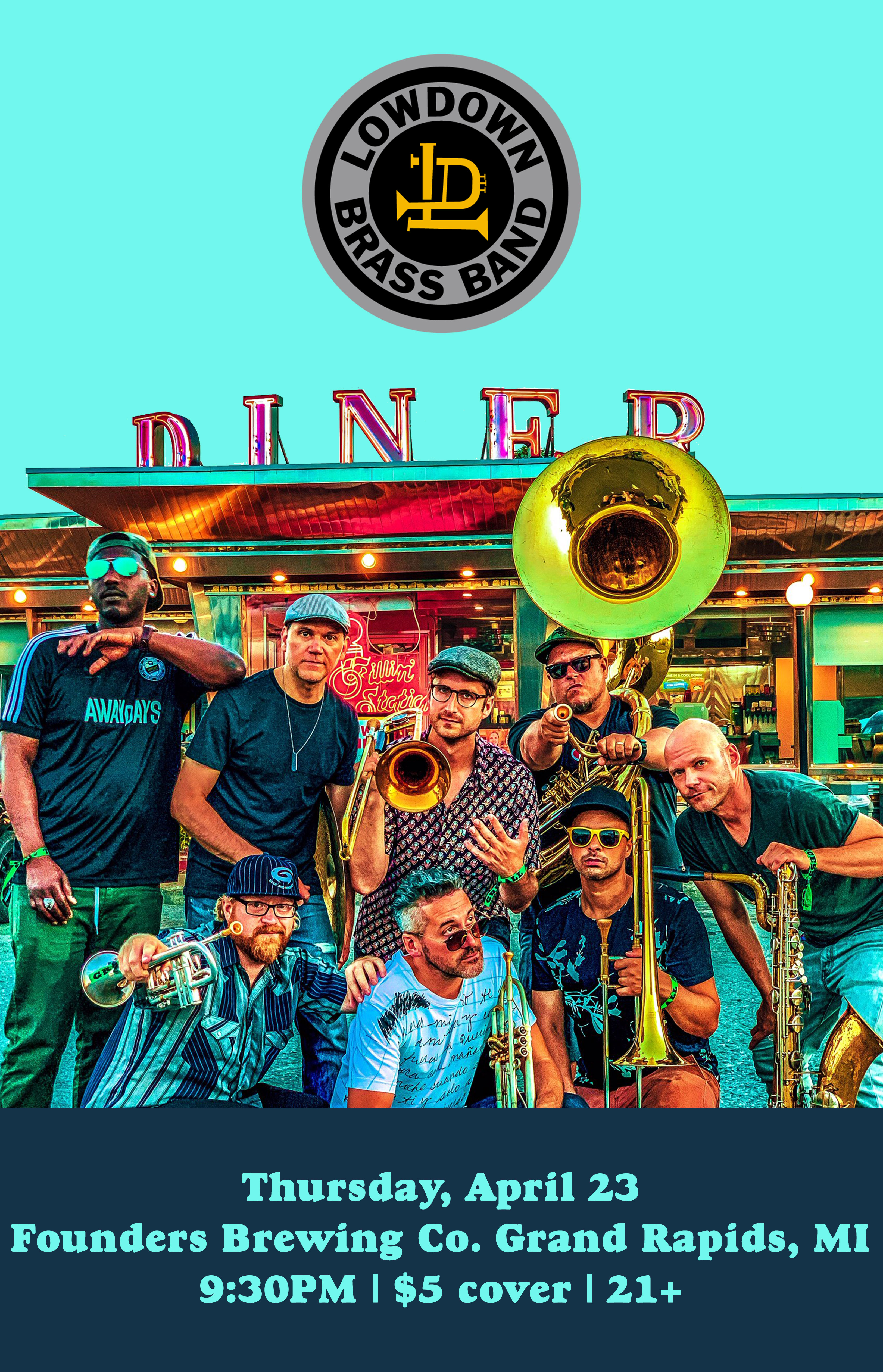 Lowdown Brass Ban event poster hosted by Founders Brewing Co.