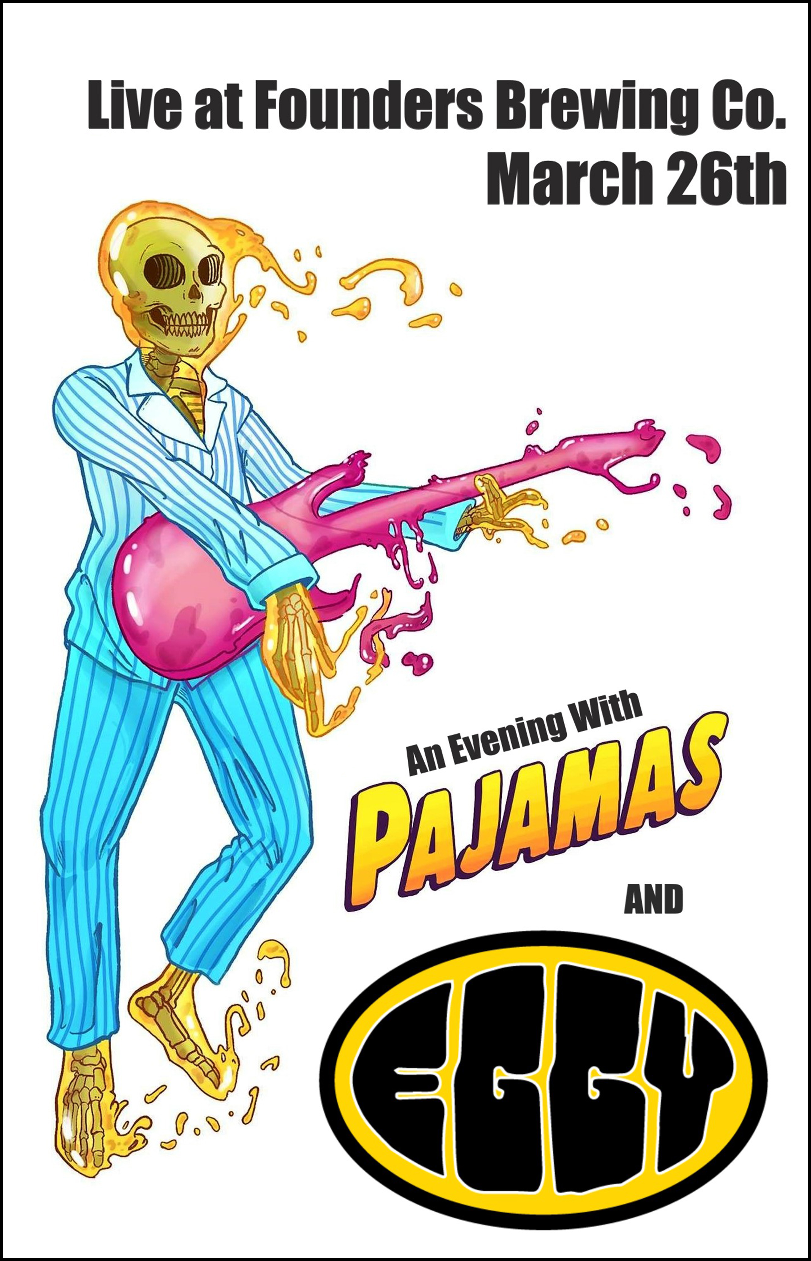 Pajamas and Eggy event poster hosted by Founders Brewing Co.