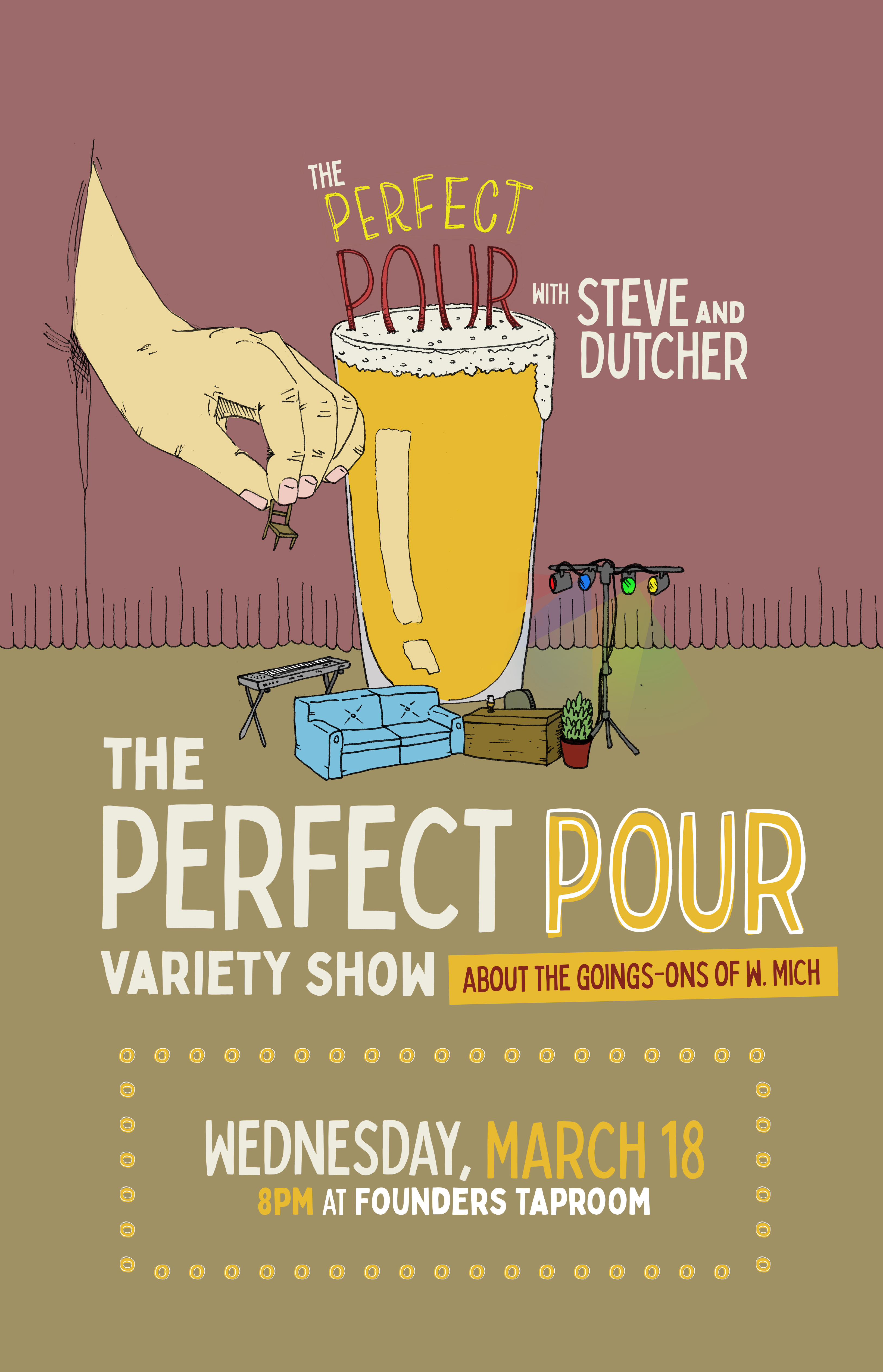 The Perfect Pour event poster hosted by Founders Brewing Co.